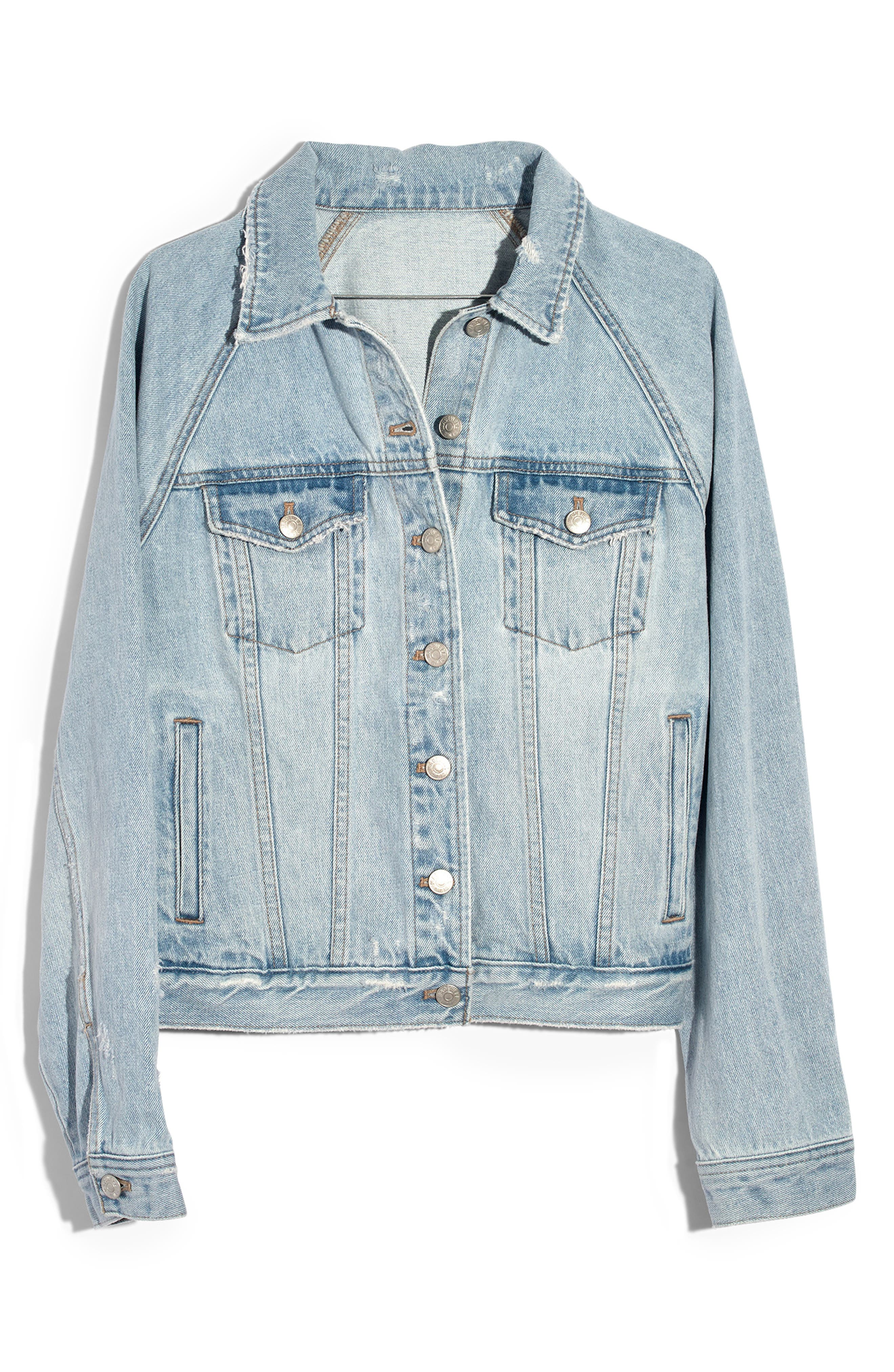 MADEWELL, The Raglan Oversize Jean Jacket, Alternate thumbnail 4, color, BRISTOL