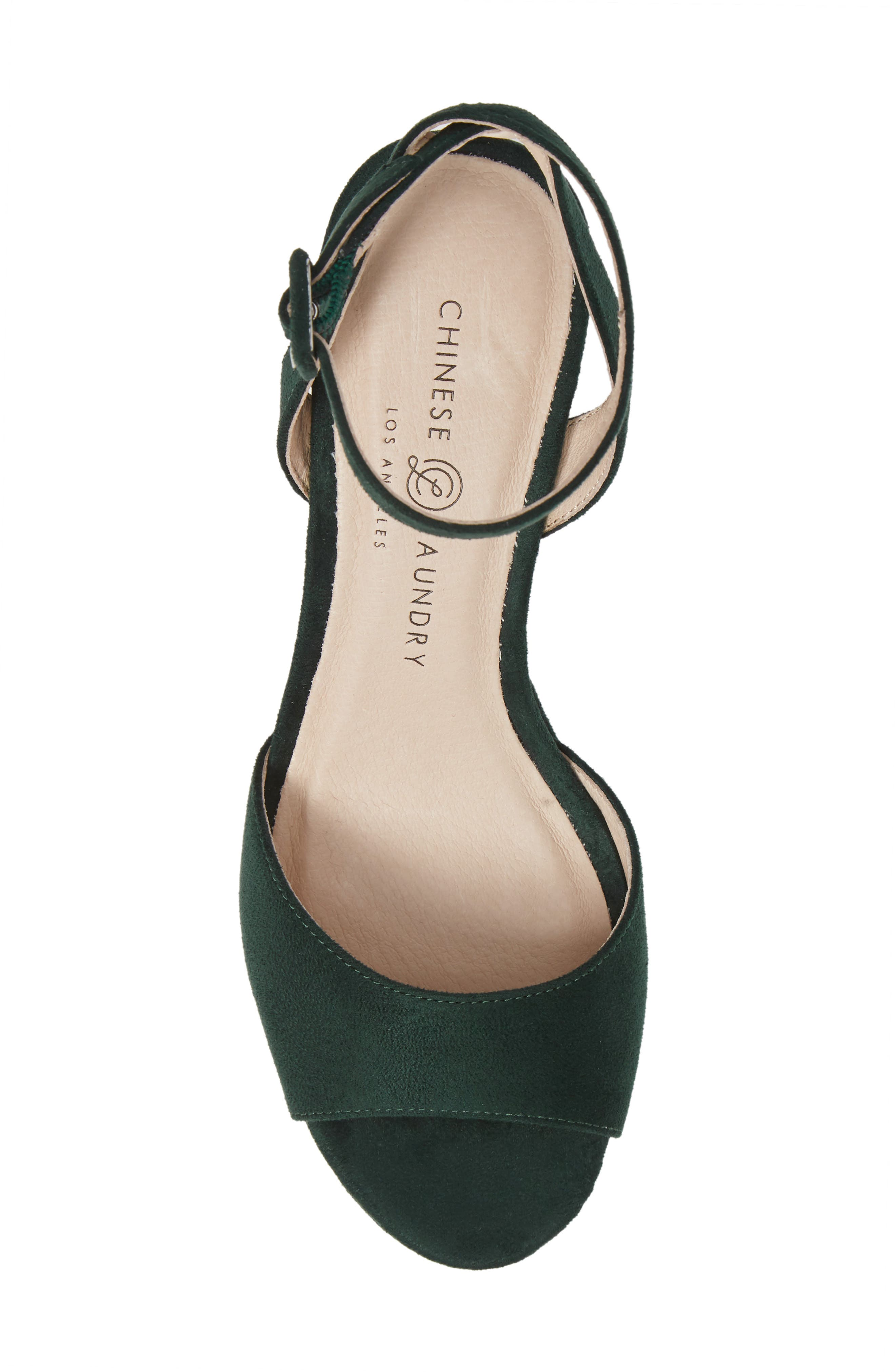 CHINESE LAUNDRY, Theresa Platform Sandal, Alternate thumbnail 5, color, FOREST GREEN SUEDE