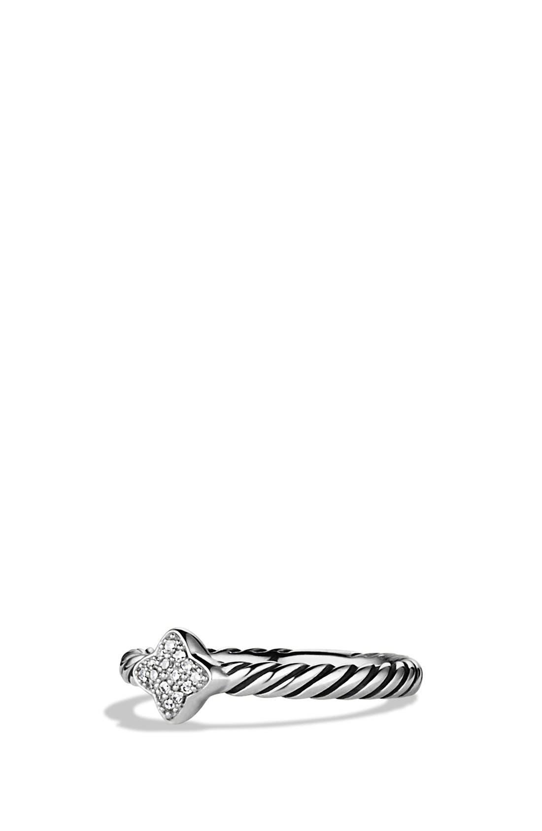 DAVID YURMAN 'Cable Collectibles - Quatrefoil' Ring with Diamonds, Main, color, DIAMOND