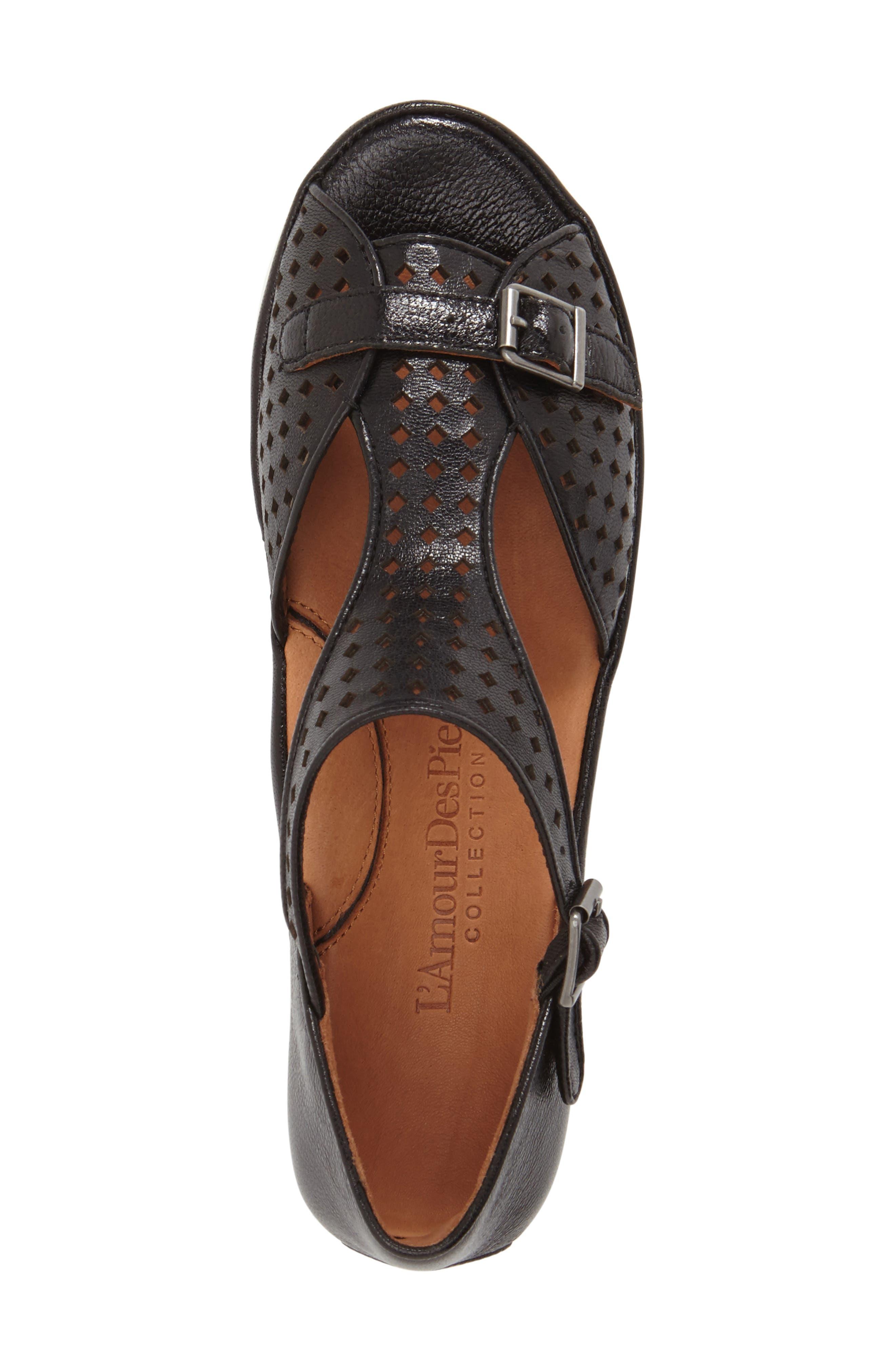 L'AMOUR DES PIEDS, 'Audric' Platform T-Strap Sandal, Alternate thumbnail 6, color, 002