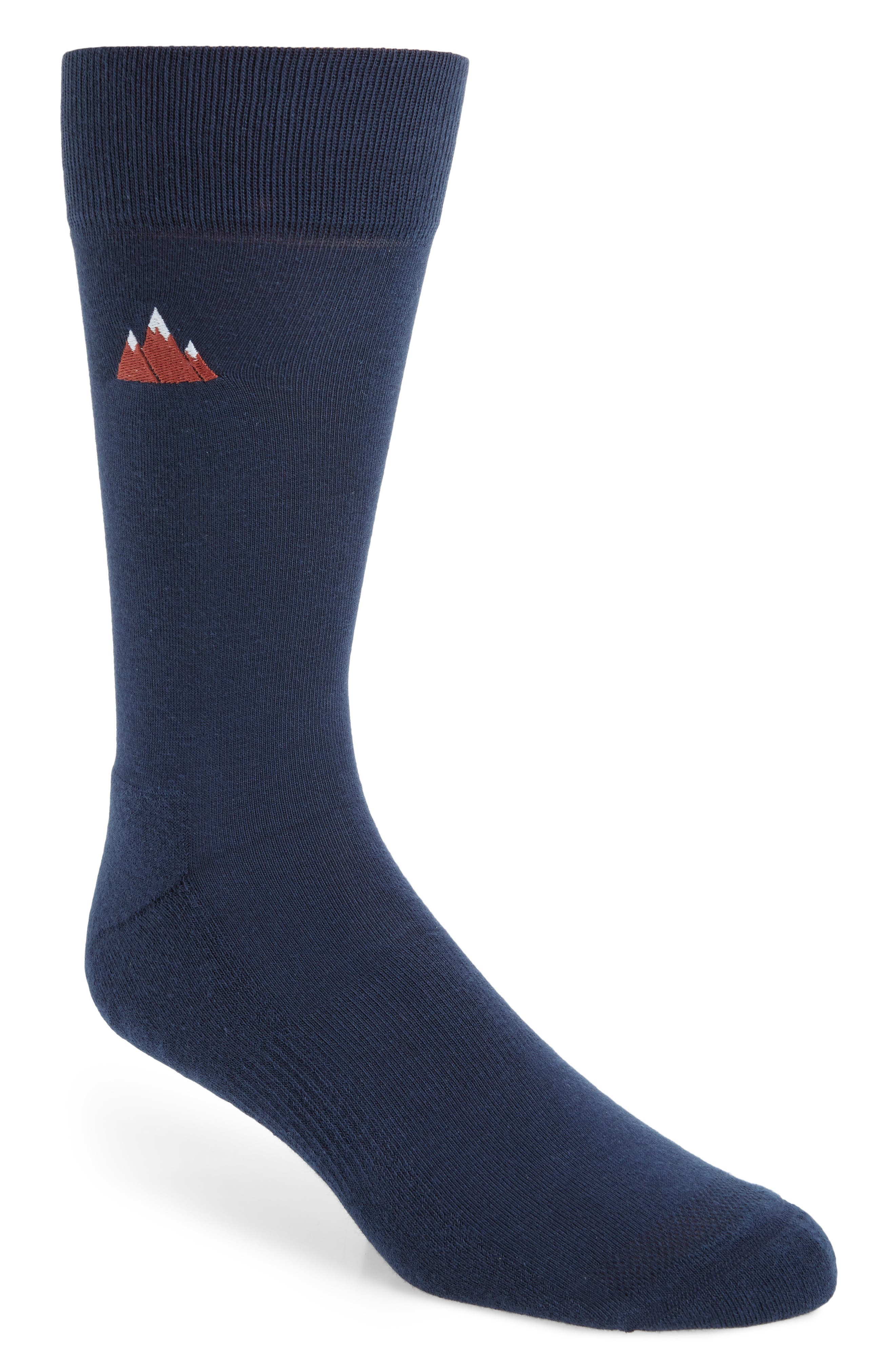 NORDSTROM MEN'S SHOP, Embroidered Mountain Socks, Main thumbnail 1, color, NAVY DUSK