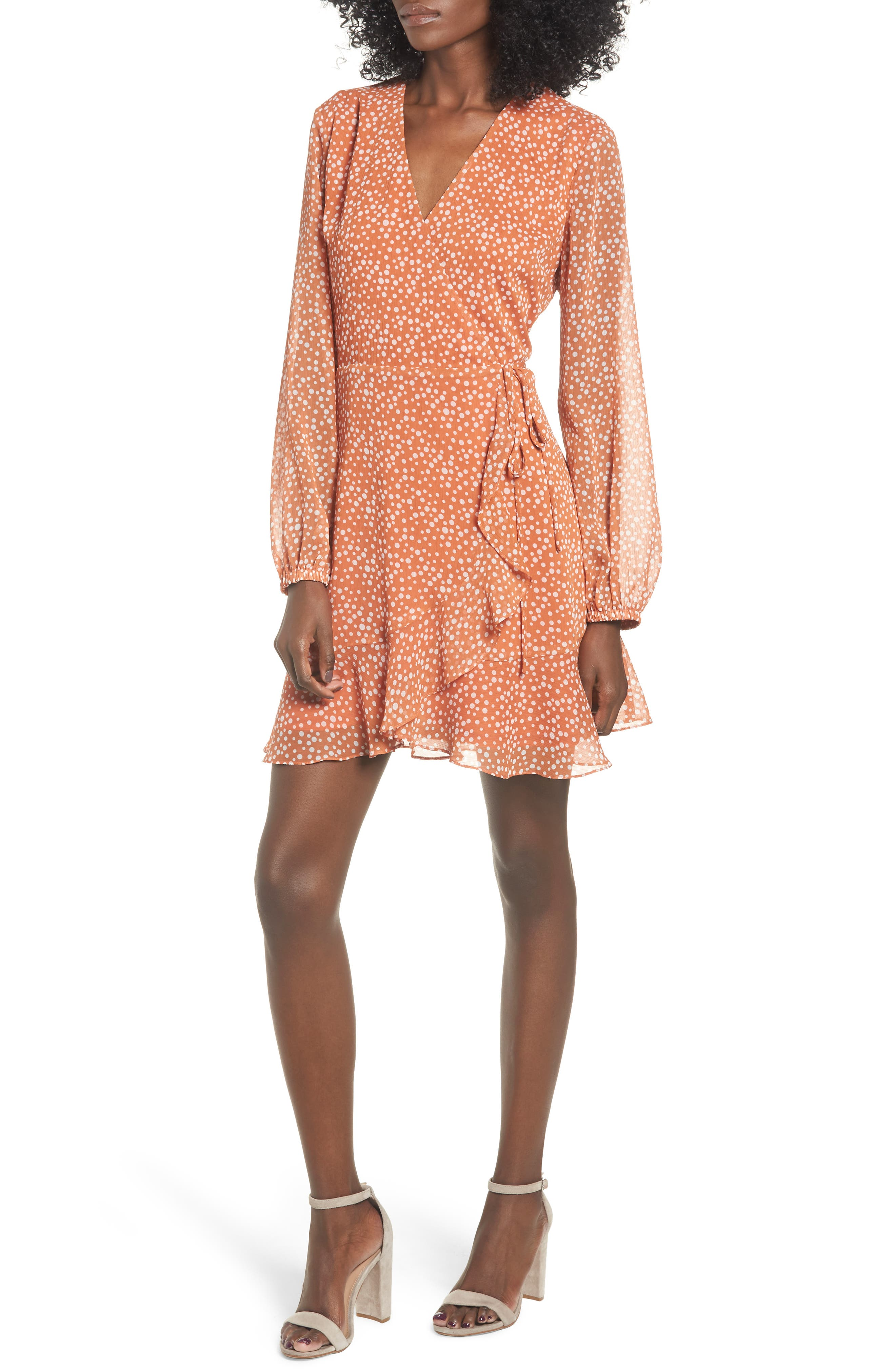 ALL IN FAVOR Brittany Wrap Minidress, Main, color, RUST DOT