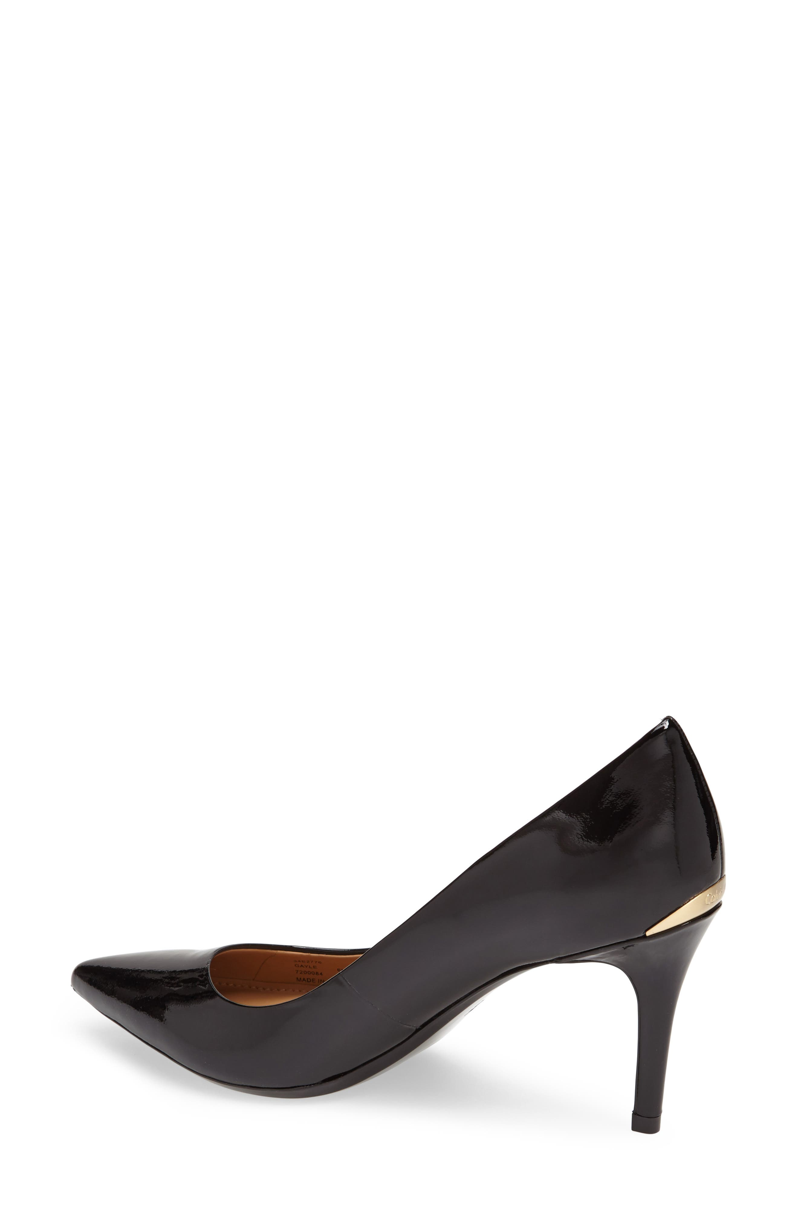 CALVIN KLEIN, 'Gayle' Pointy Toe Pump, Alternate thumbnail 2, color, BLACK PATENT