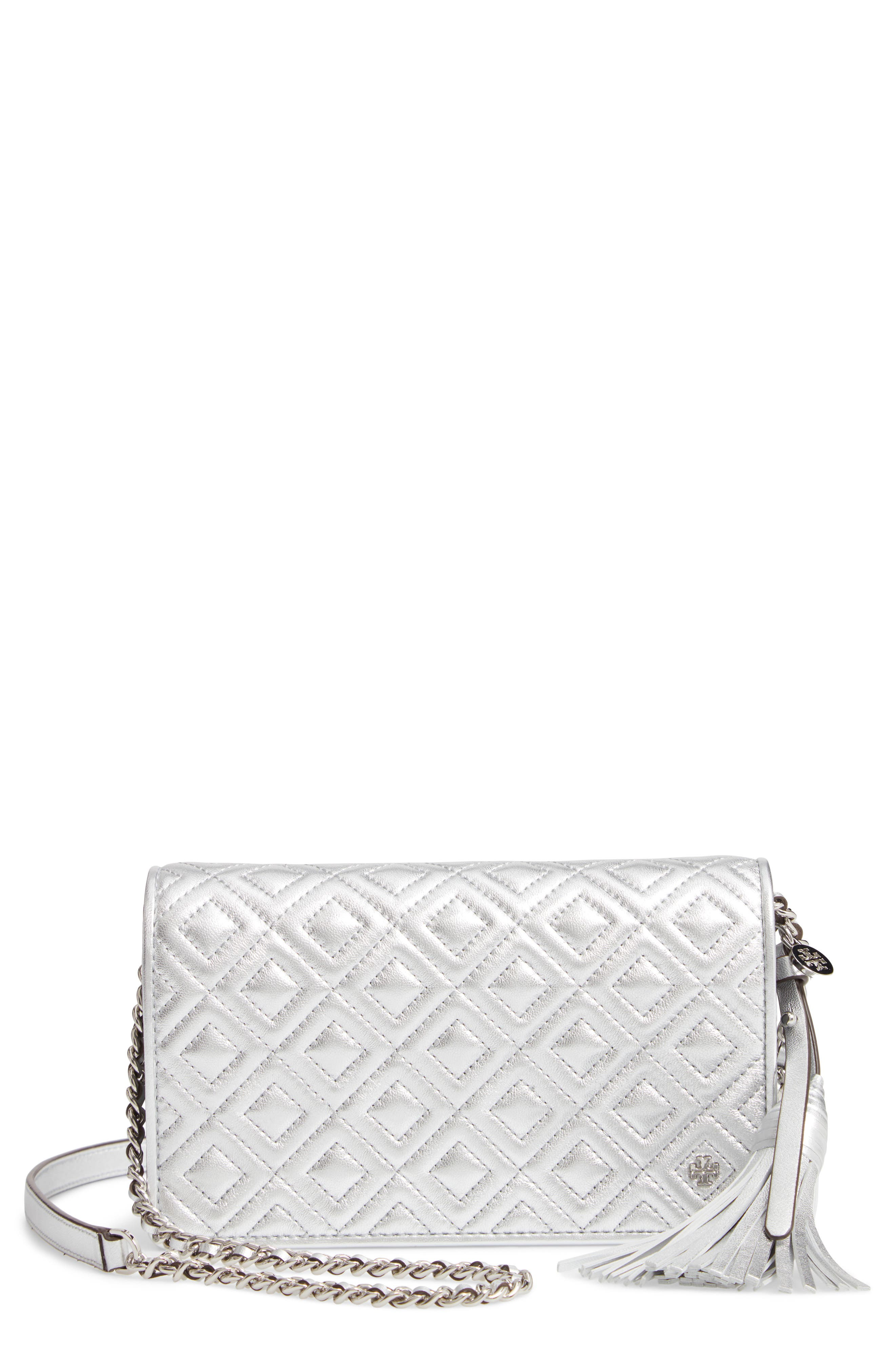 TORY BURCH Fleming Quilted Metallic Leather Continental Wallet, Main, color, 040