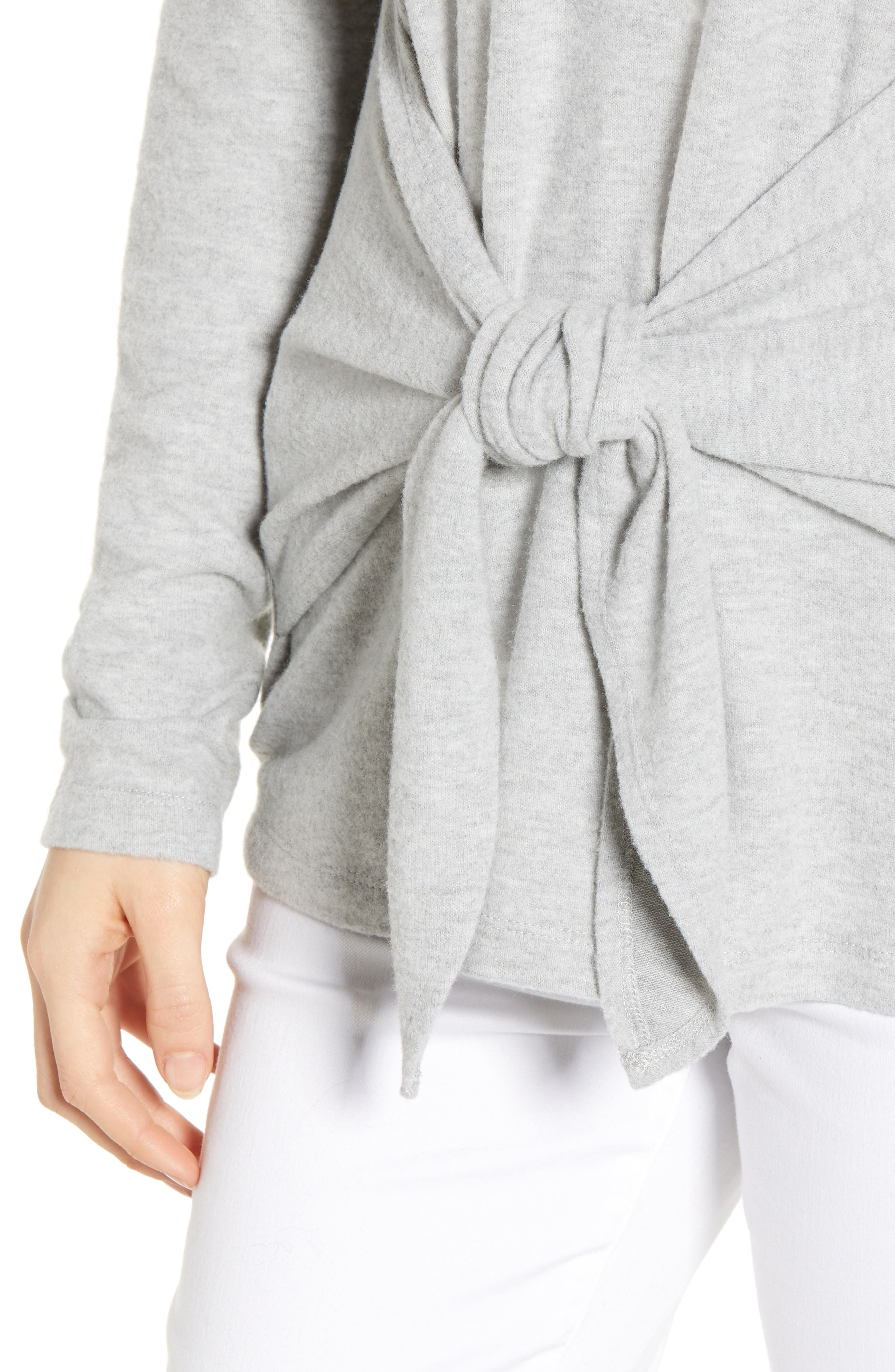SOCIALITE, Tie Front Top, Alternate thumbnail 4, color, HEATHER GREY