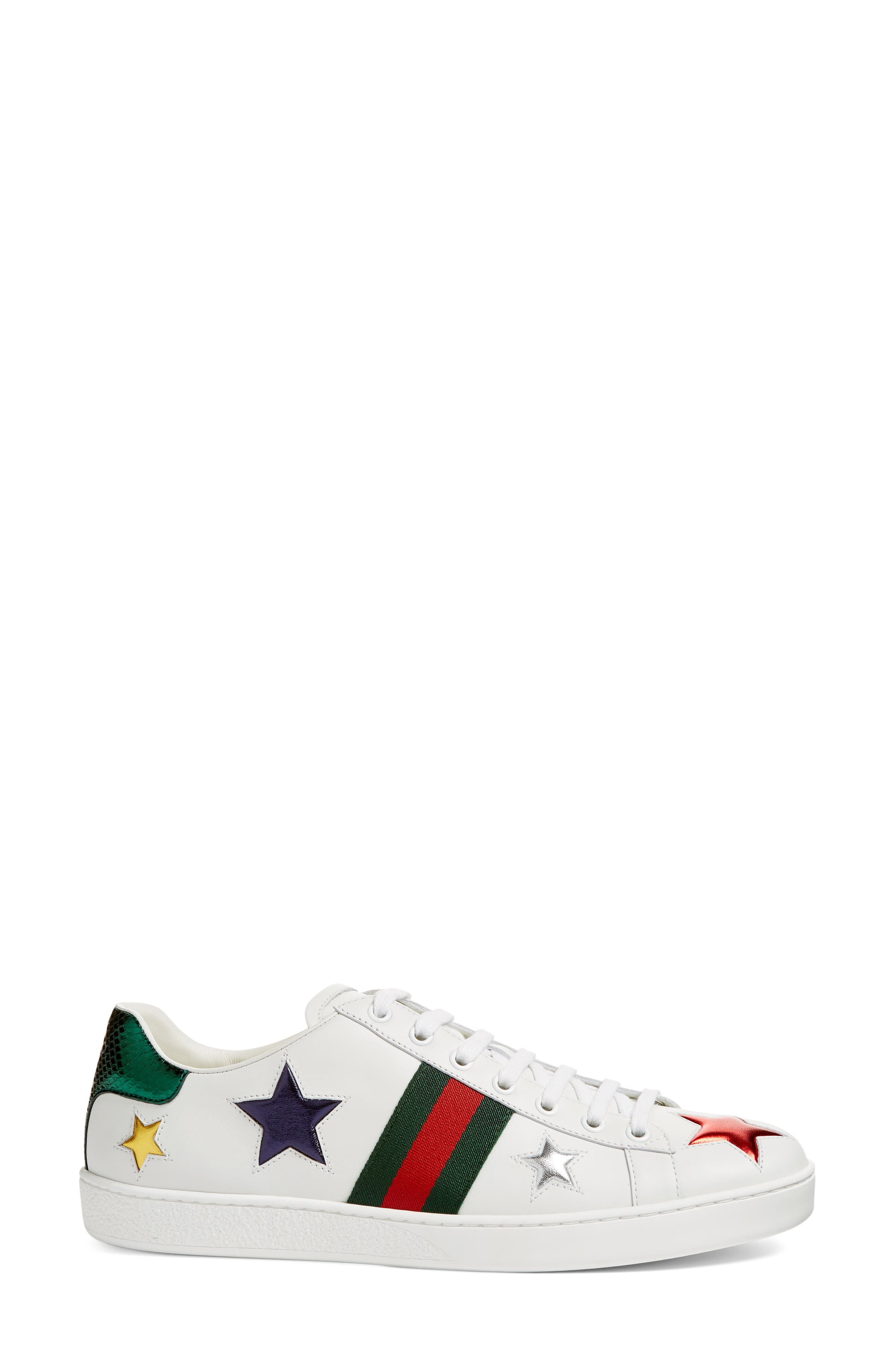 GUCCI, New Ace Star Sneaker, Alternate thumbnail 3, color, WHITE MULTI