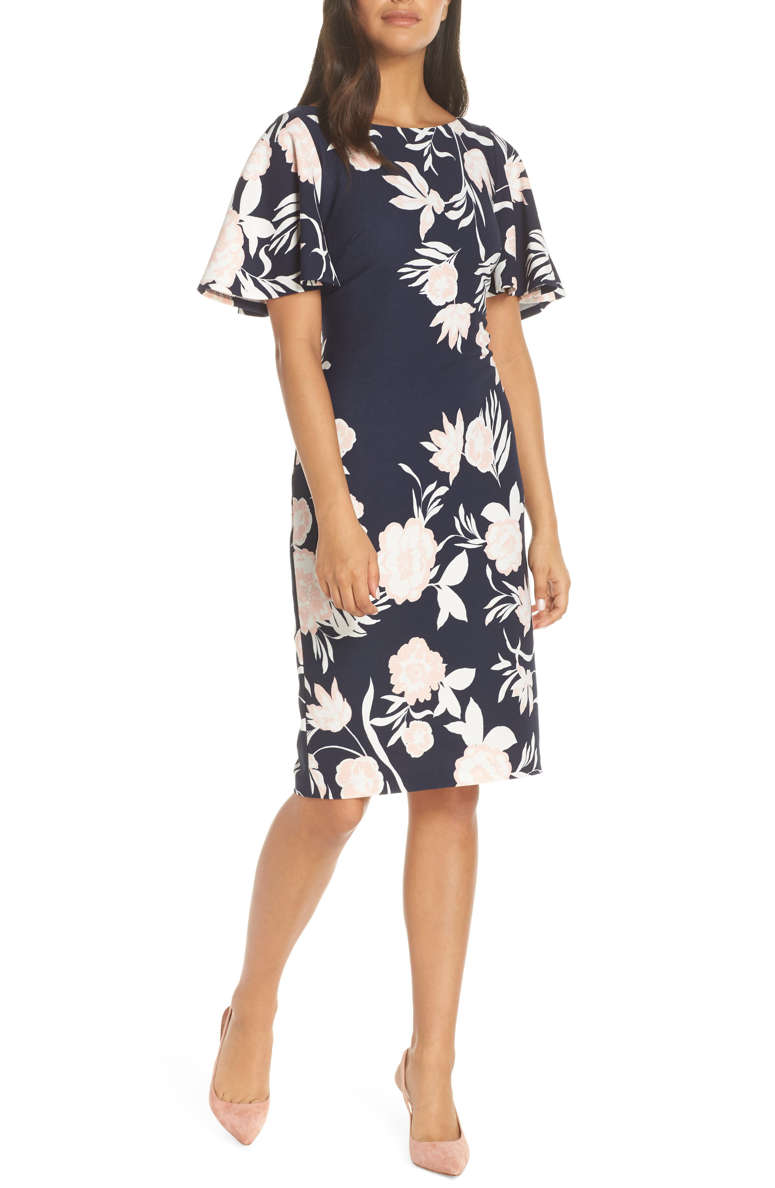 ELIZA J, Flounce Sheath Dress, Main thumbnail 1, color, NAVY