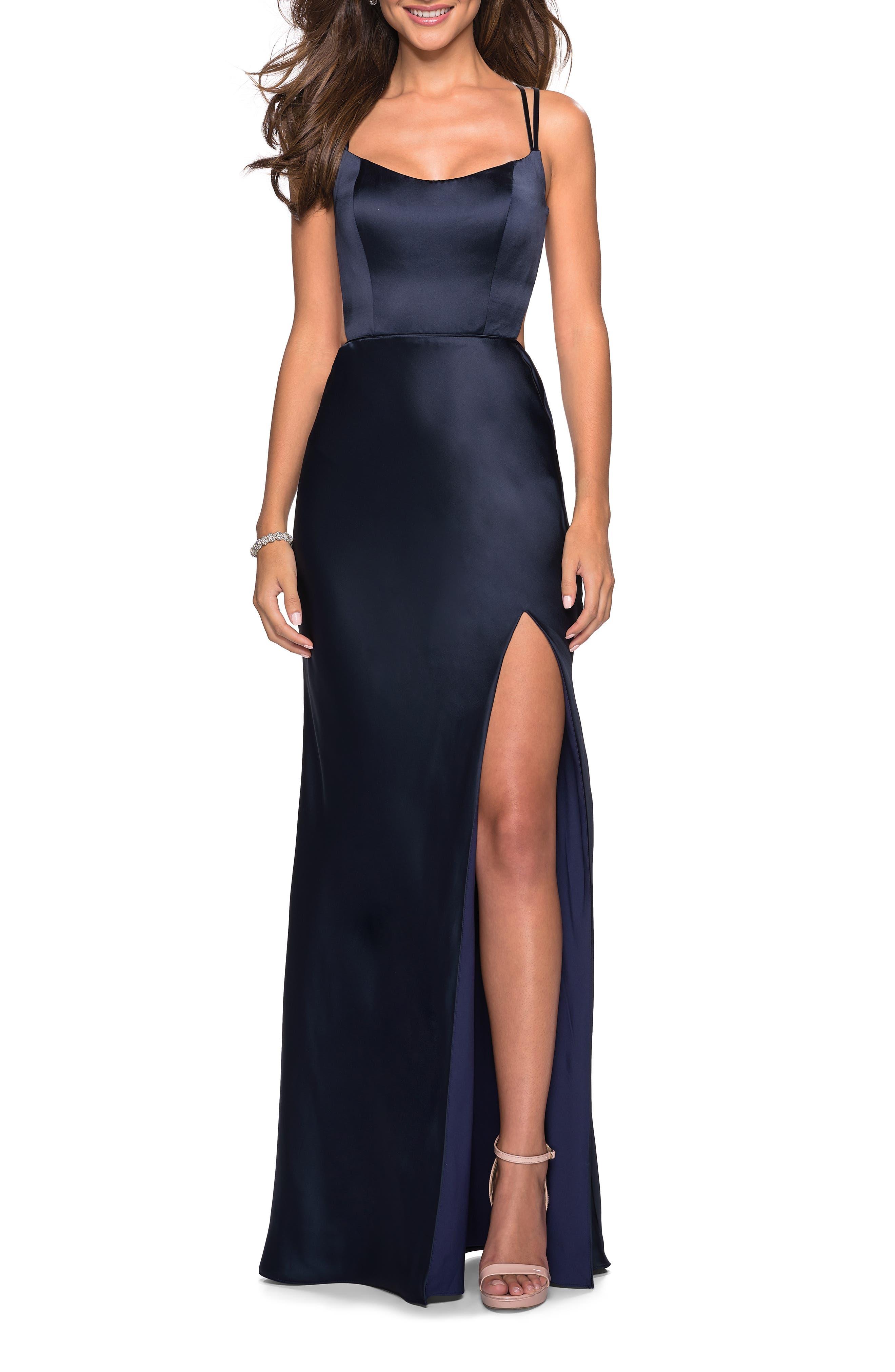 La Femme Strappy Back Fitted Satin Evening Dress, Blue