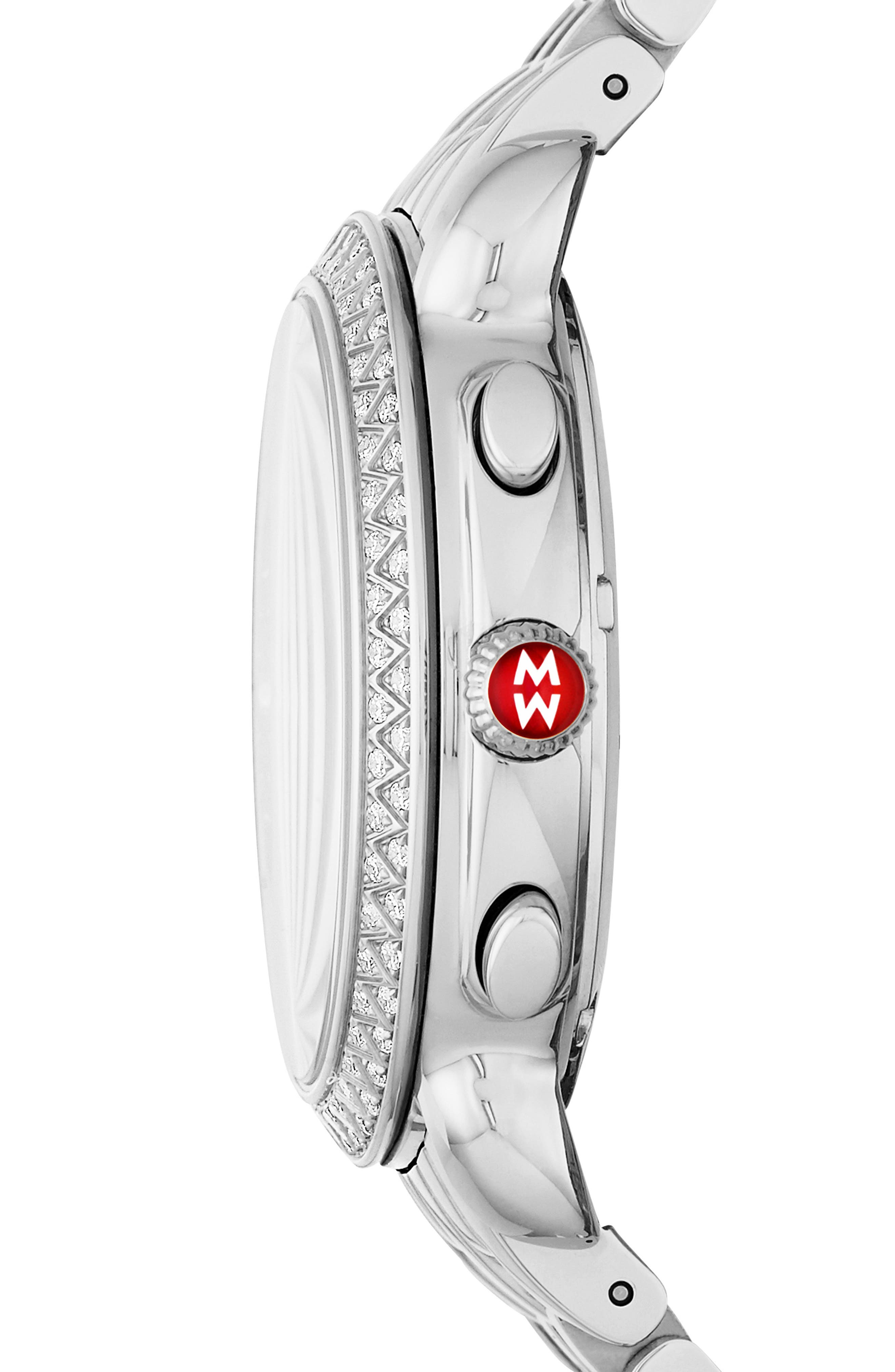 MICHELE, Sidney Chrono Diamond Diamond Dial Watch Case, 38mm, Alternate thumbnail 2, color, SILVER/ BLACK MOP/ SILVER