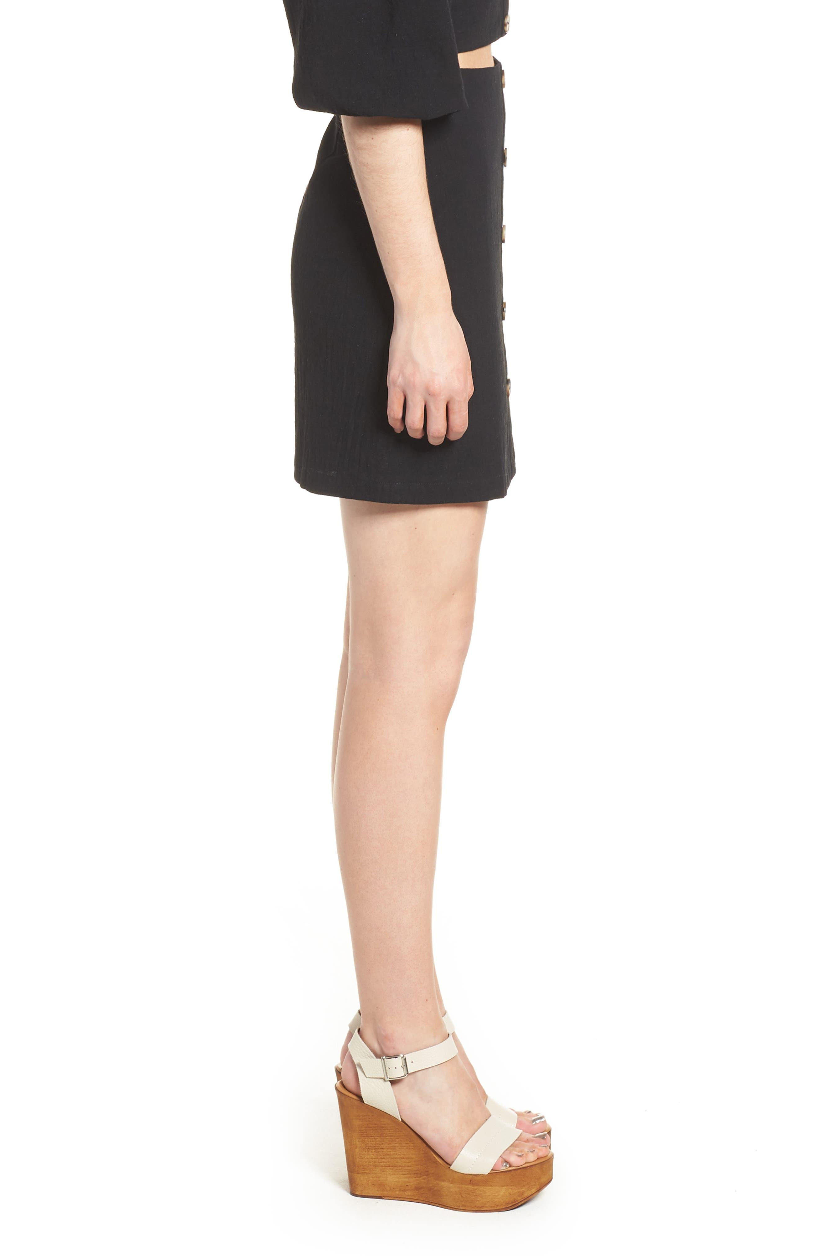 J.O.A., Button Front Miniskirt, Alternate thumbnail 3, color, 001