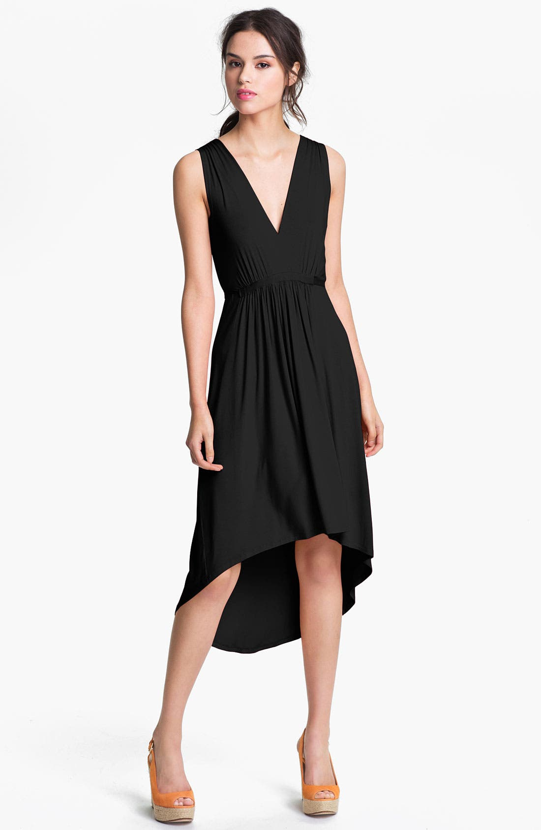 FELICITY & COCO, Pleated High/Low Dress, Main thumbnail 1, color, 001