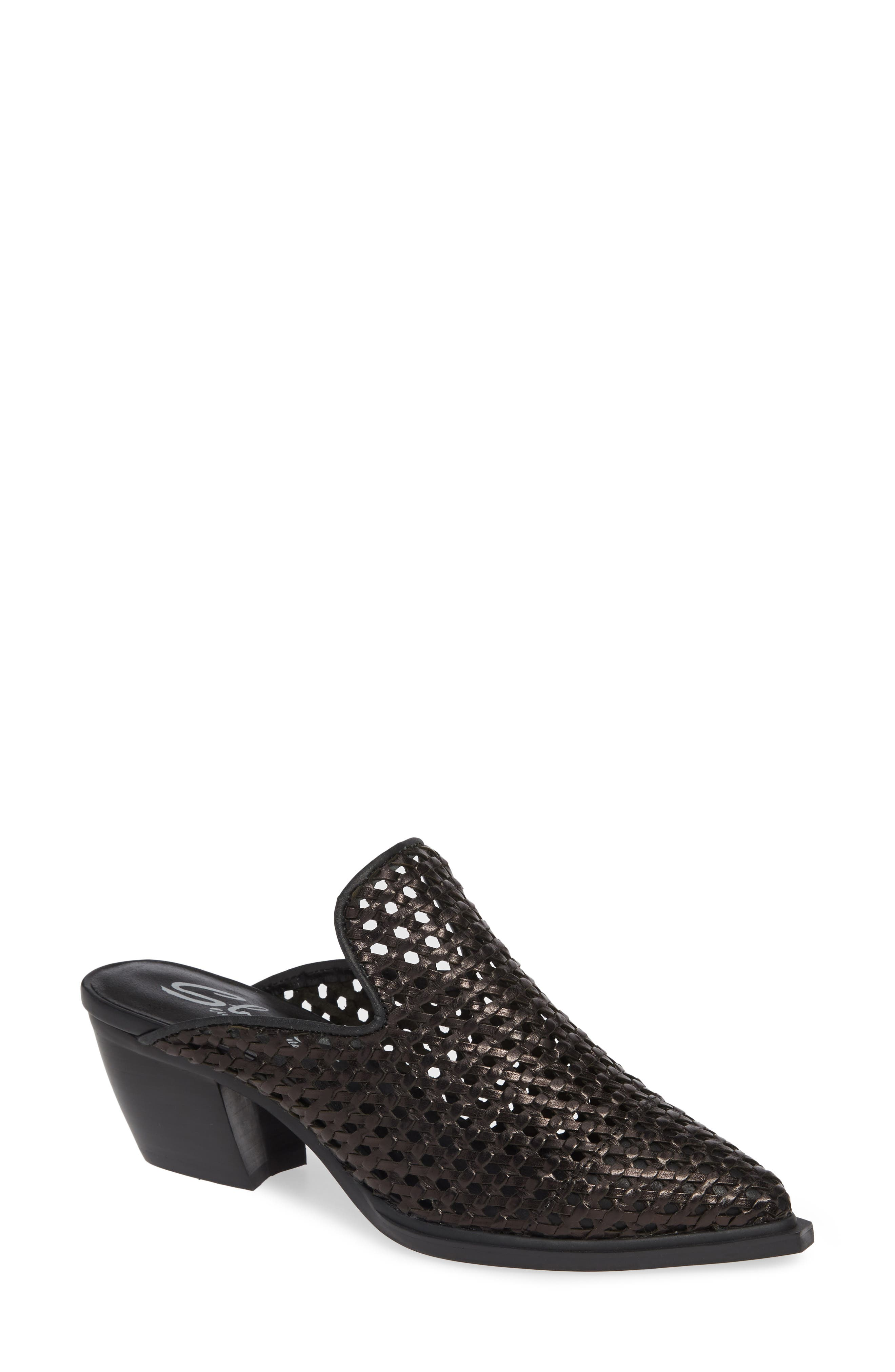 SBICCA, Louise Woven Mule, Main thumbnail 1, color, BLACK LEATHER