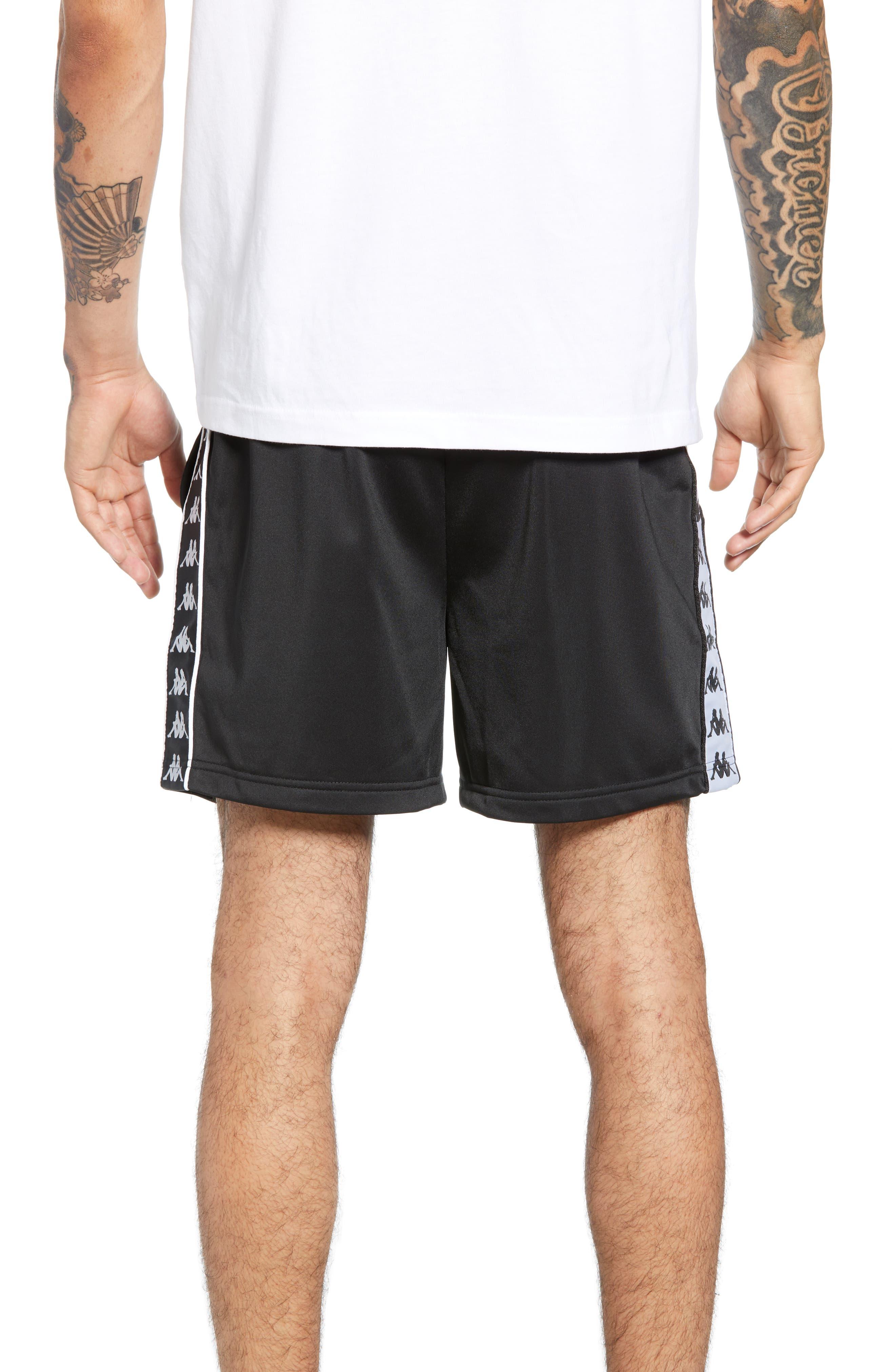 KAPPA, 222 Banda Cole Athletic Shorts, Alternate thumbnail 2, color, BLACK/ WHITE