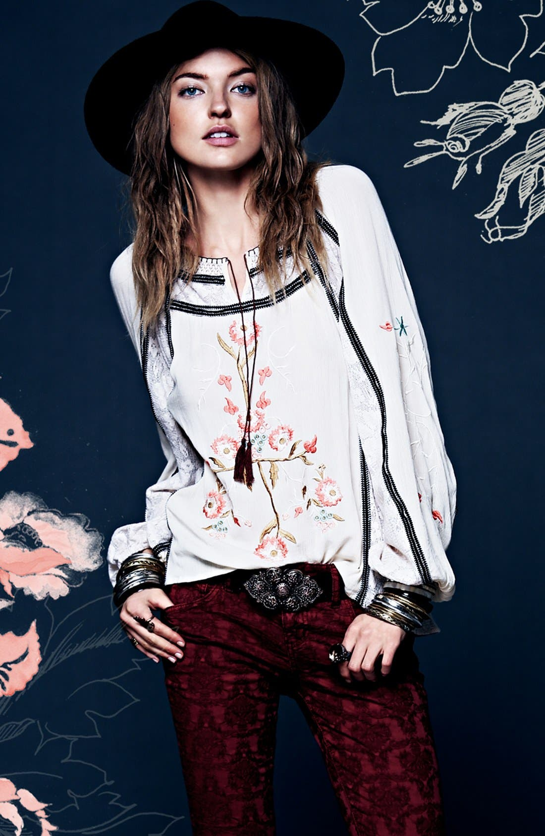 FREE PEOPLE, 'Tiger Lily' Embroidered Top, Alternate thumbnail 3, color, 900