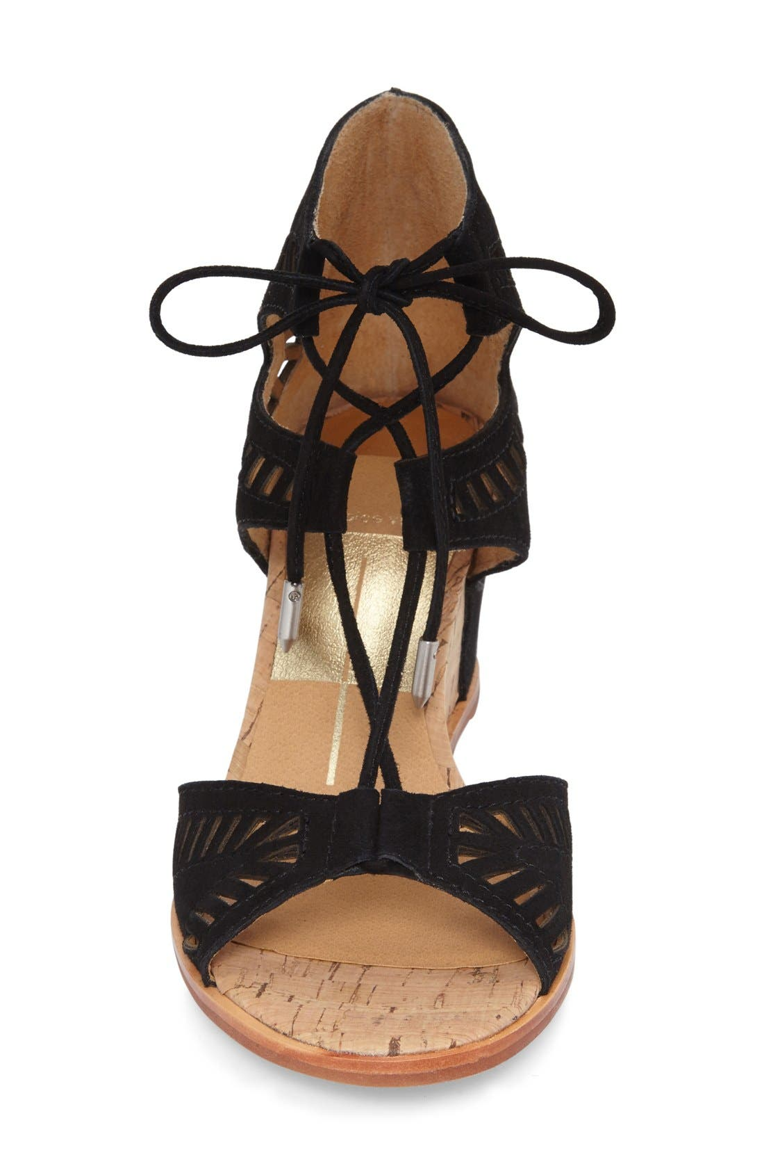 DOLCE VITA, 'Linsey' Lace-Up Wedge Sandal, Alternate thumbnail 2, color, 001