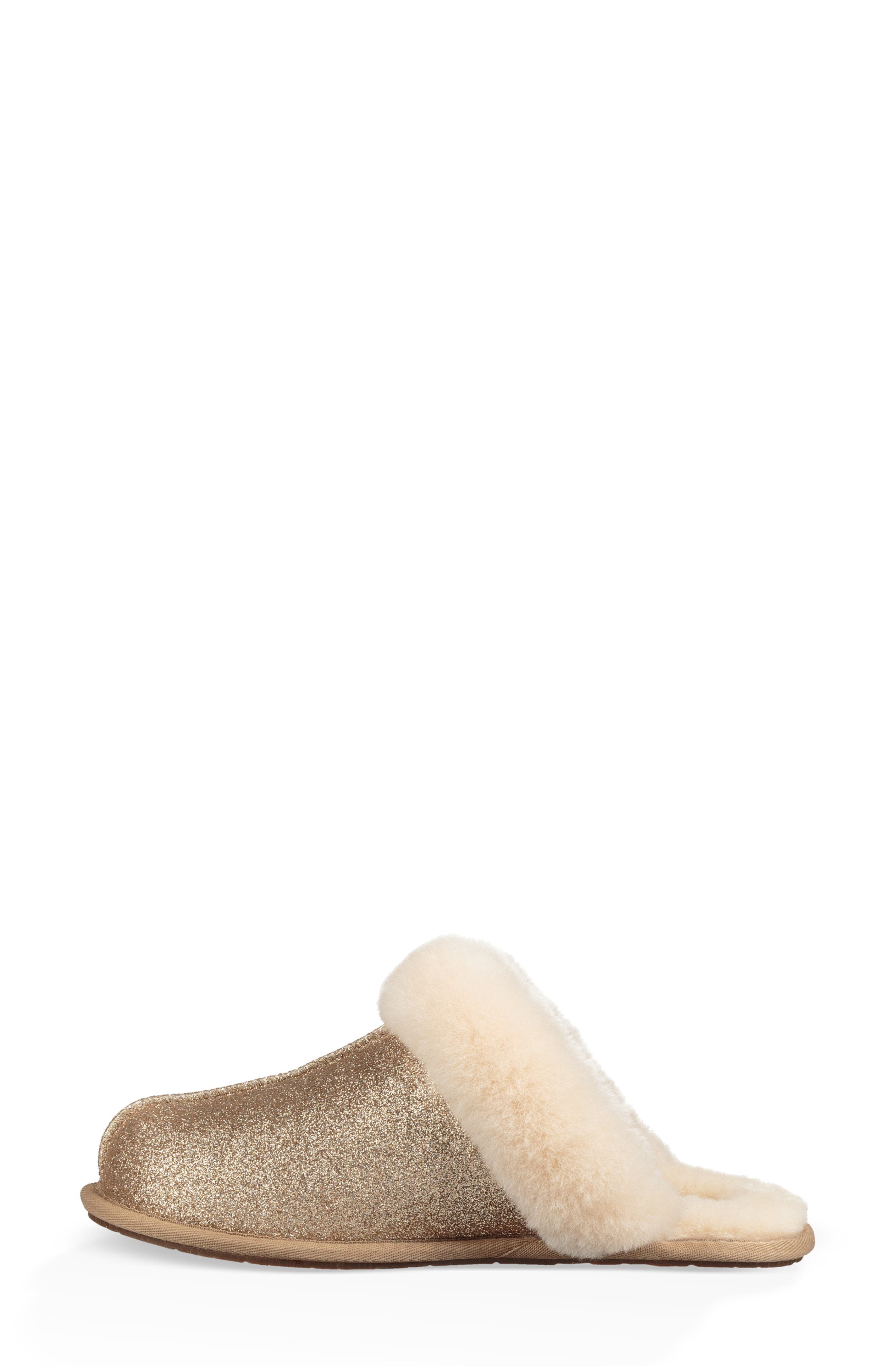 UGG<SUP>®</SUP>, Scuffette II Sparkle Genuine Shearling Slipper, Alternate thumbnail 6, color, GOLD