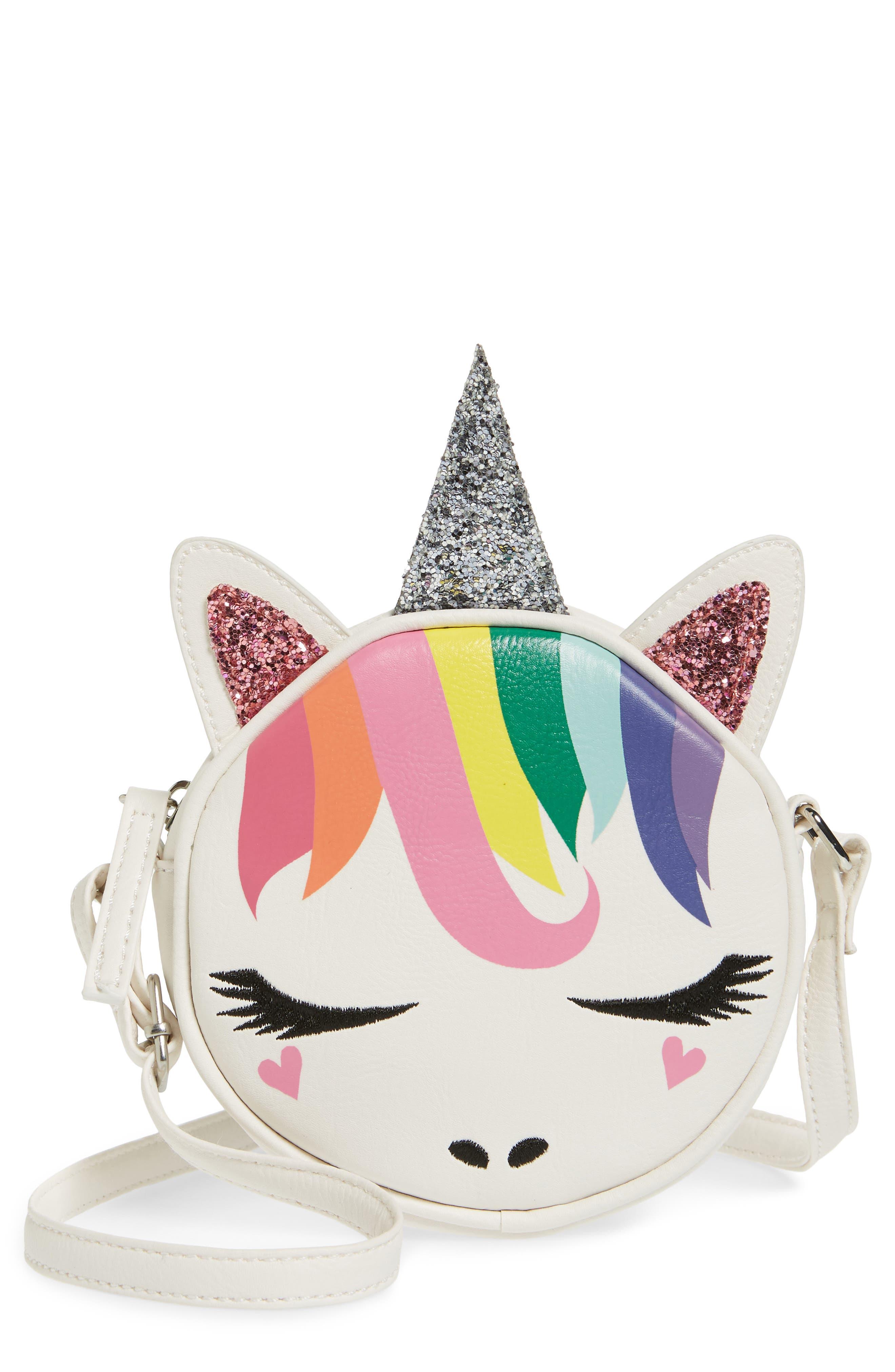 Girls Omg Rainbow Unicorn Canteen Crossbody Bag  White