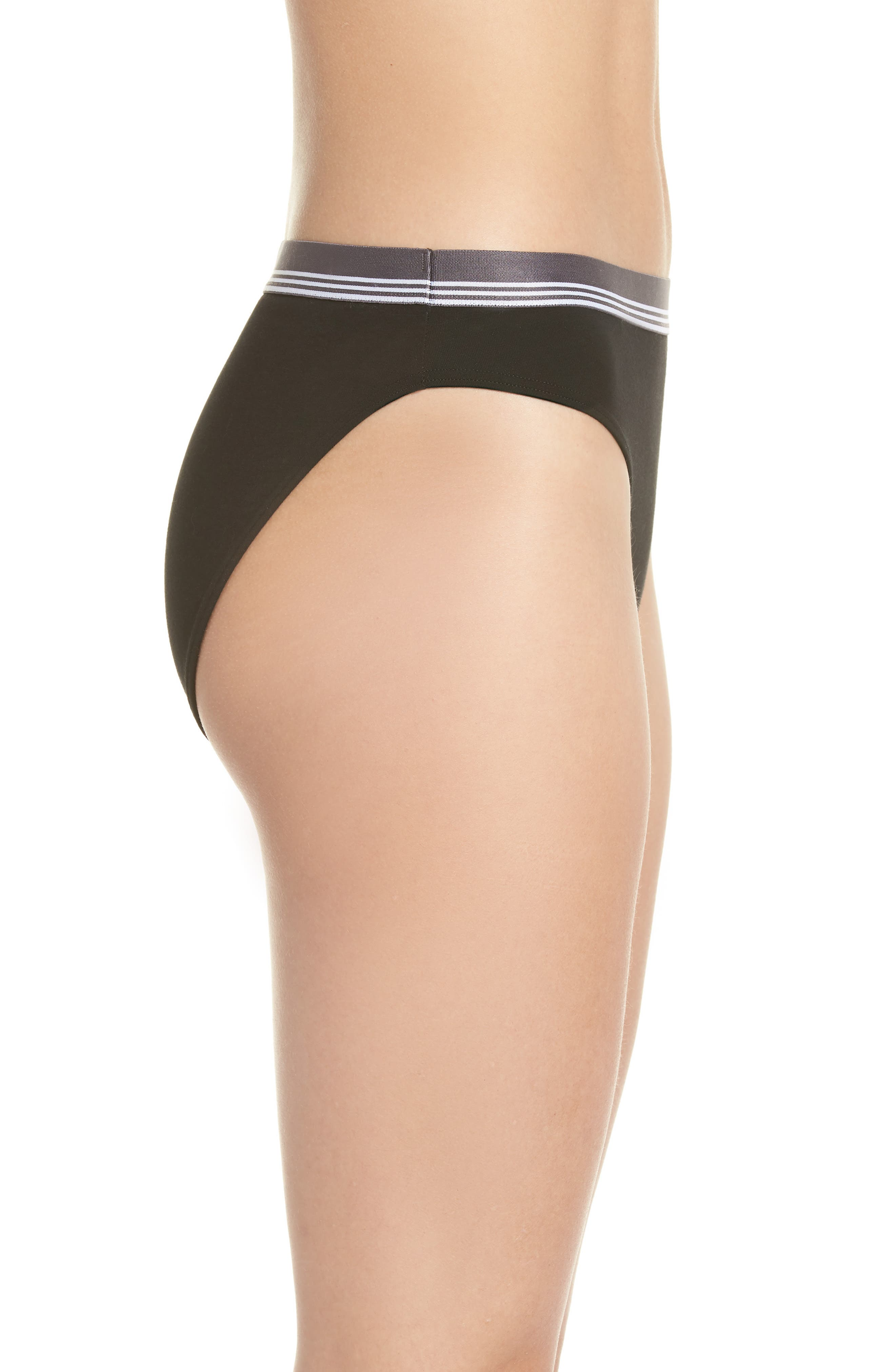 MAKE + MODEL, Sporty High Cut Briefs, Alternate thumbnail 3, color, BLACK