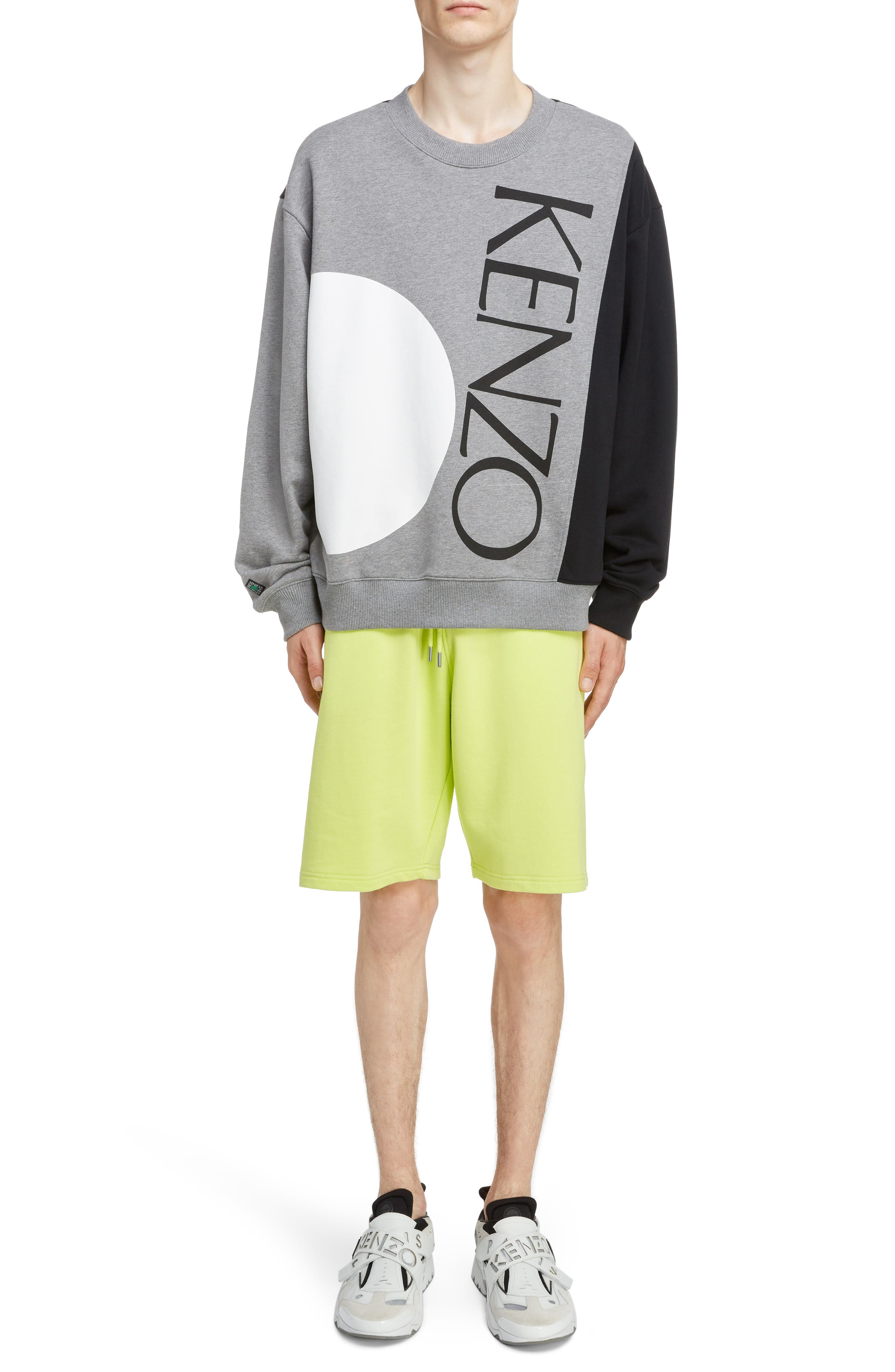 KENZO, Oversize Colorblock Sweatshirt, Alternate thumbnail 7, color, DOVE GREY