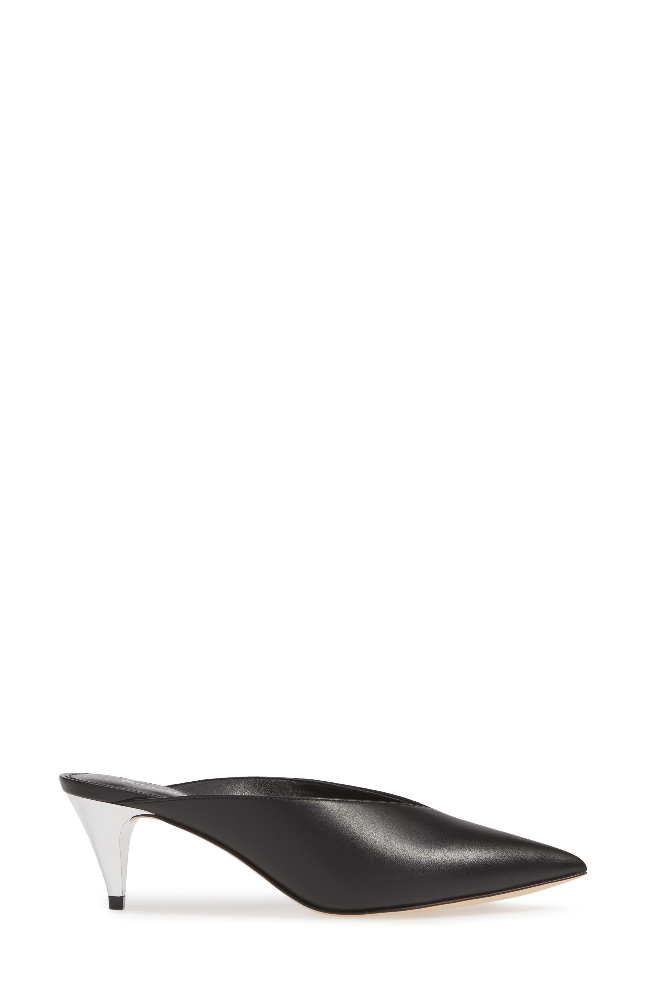 MICHAEL MICHAEL KORS, Cambria Mule, Alternate thumbnail 3, color, BLACK VACHETTA LEATHER