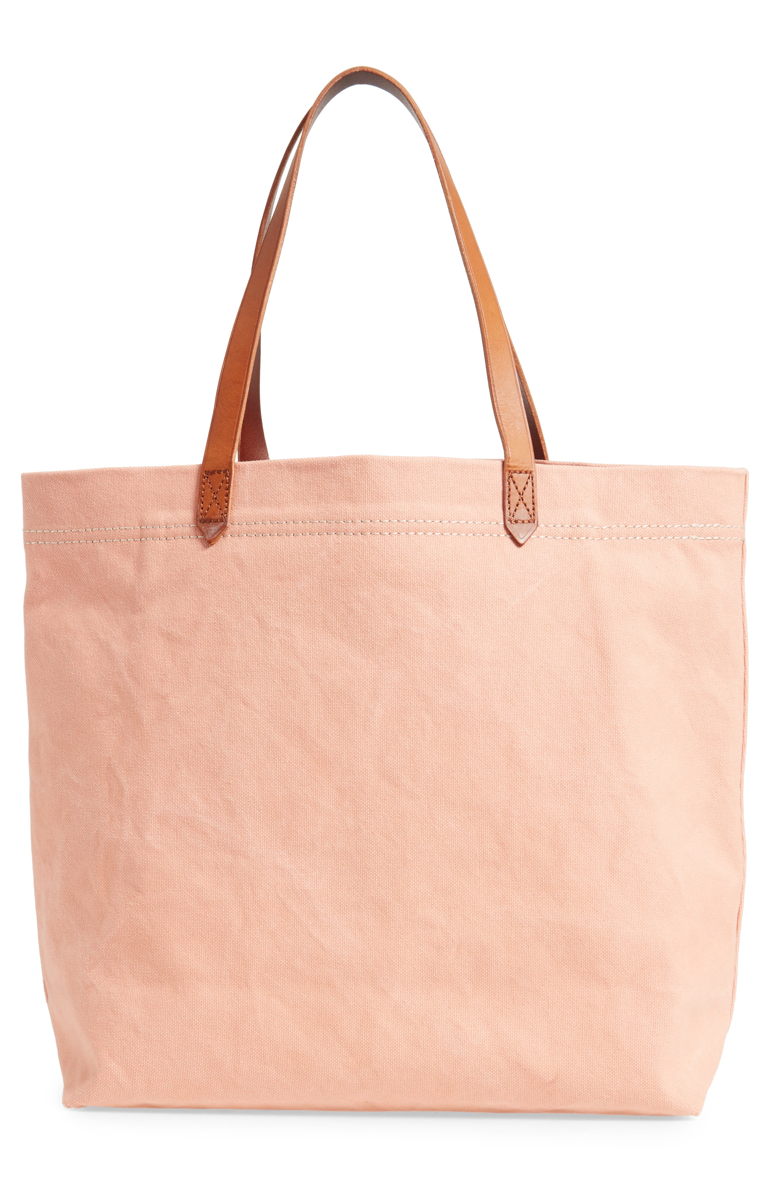 MADEWELL, Canvas Transport Tote, Alternate thumbnail 3, color, ANTIQUE CORAL