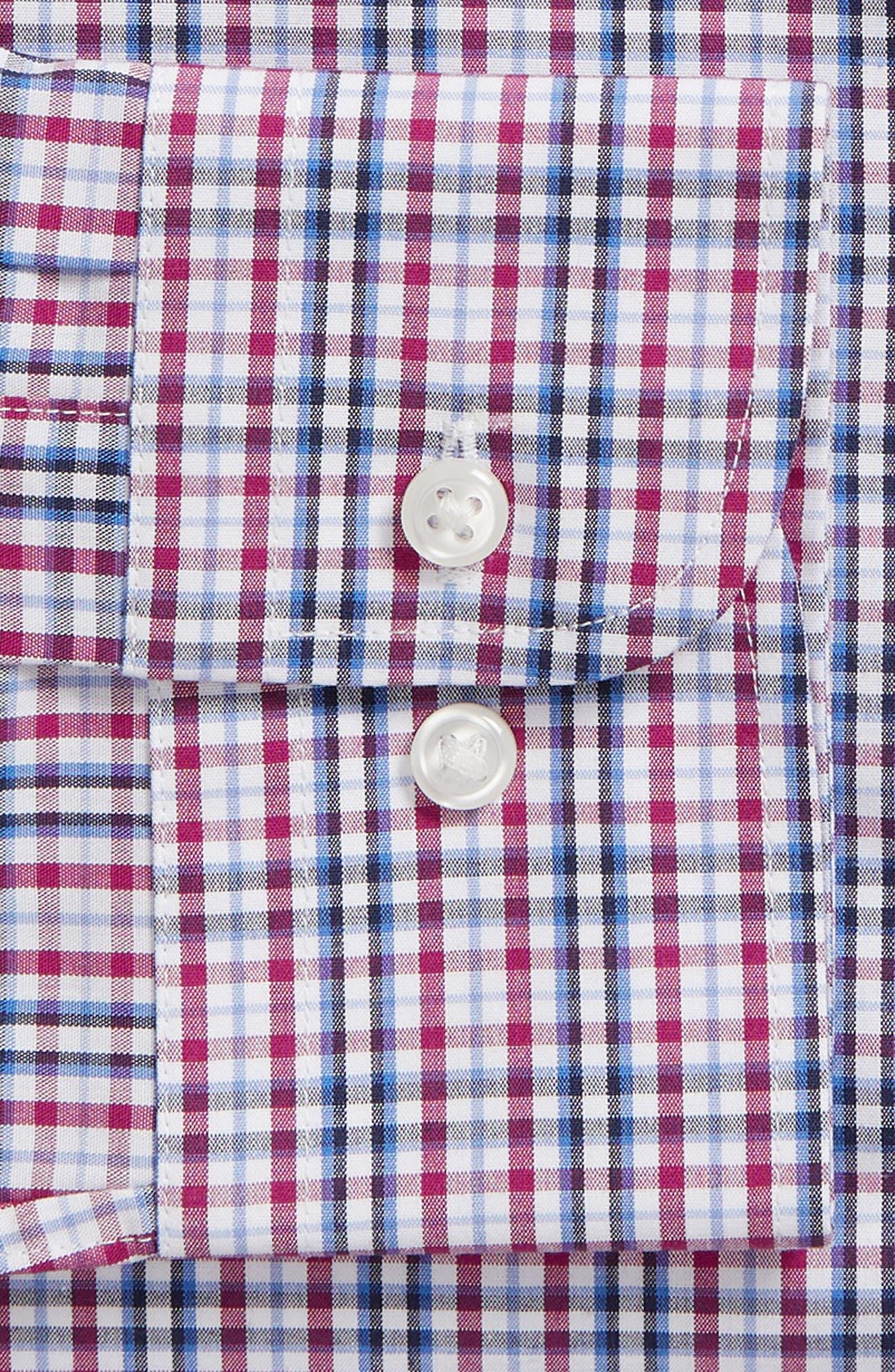 NORDSTROM MEN'S SHOP, Non-Iron Trim Fit Plaid Dress Shirt, Alternate thumbnail 6, color, PURPLE BOYSEN