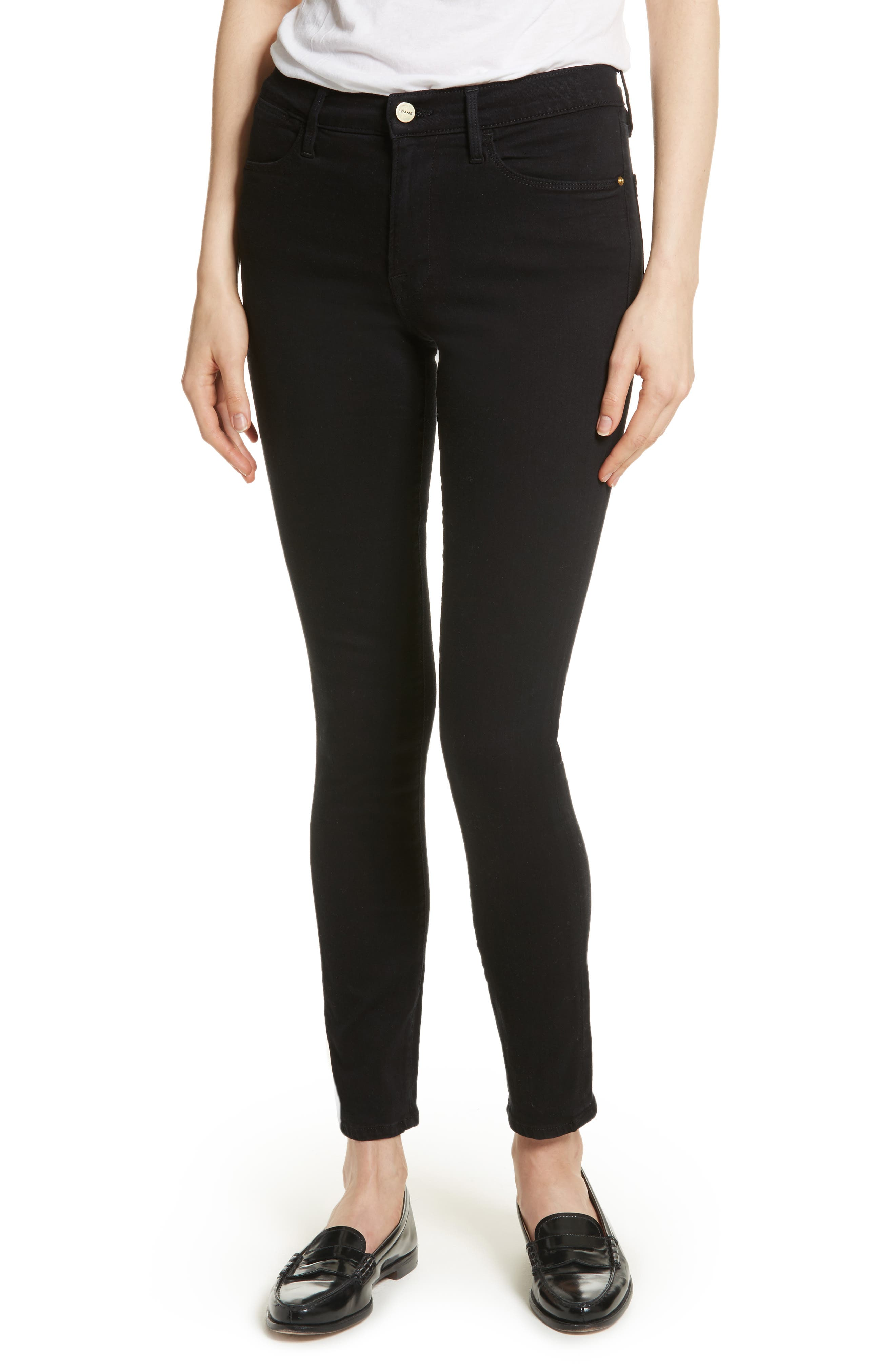 FRAME Le High Skinny Jeans, Main, color, 001