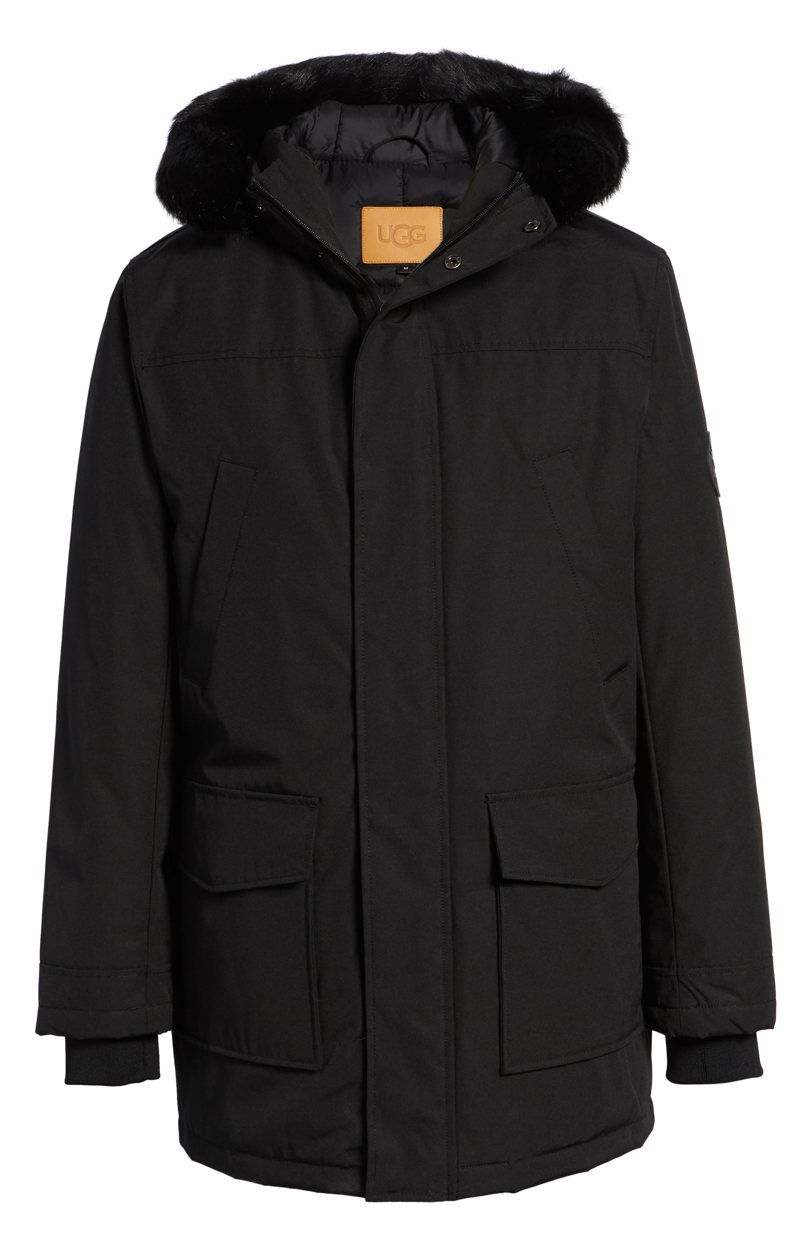 UGG<SUP>®</SUP>, Butte Water-Resistant Down Parka with Genuine Shearling Trim, Alternate thumbnail 7, color, 001