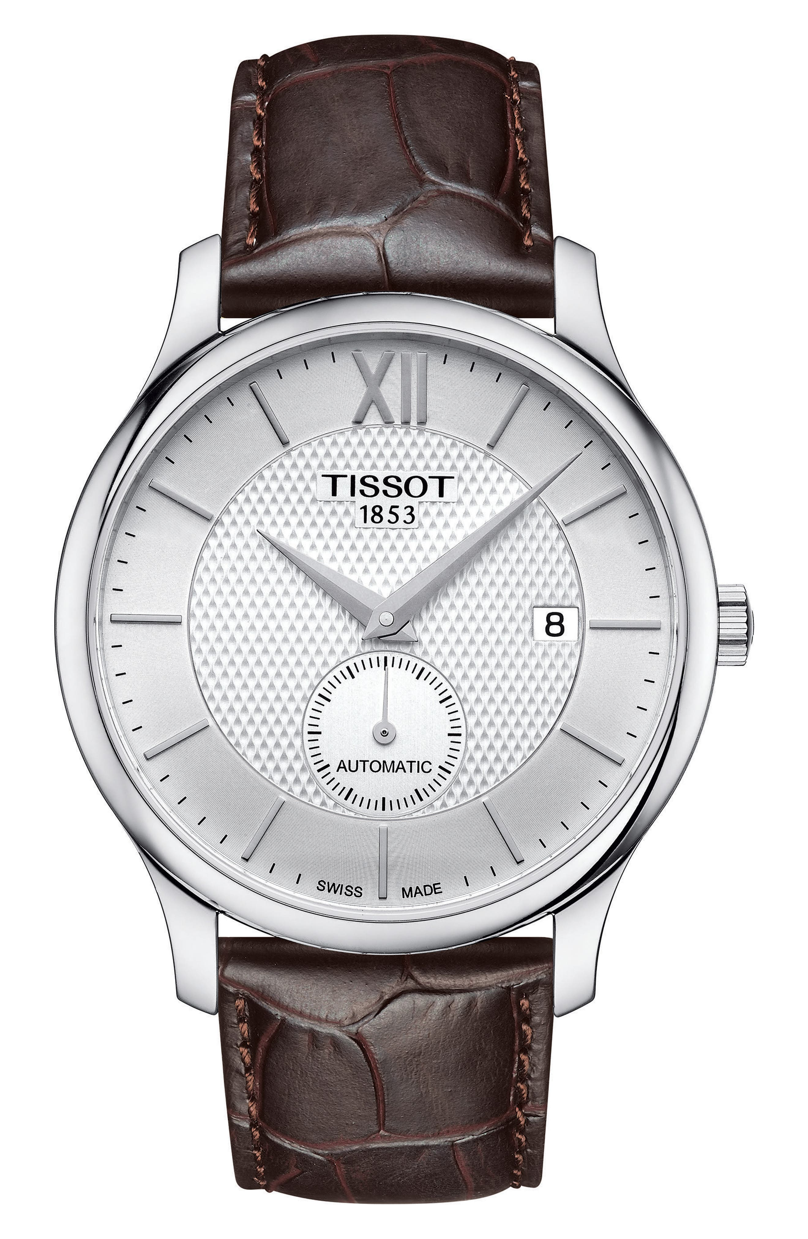TISSOT, Tradition Automatic Embossed Leather Strap Watch, 40mm, Main thumbnail 1, color, BROWN/ WHITE/ SILVER