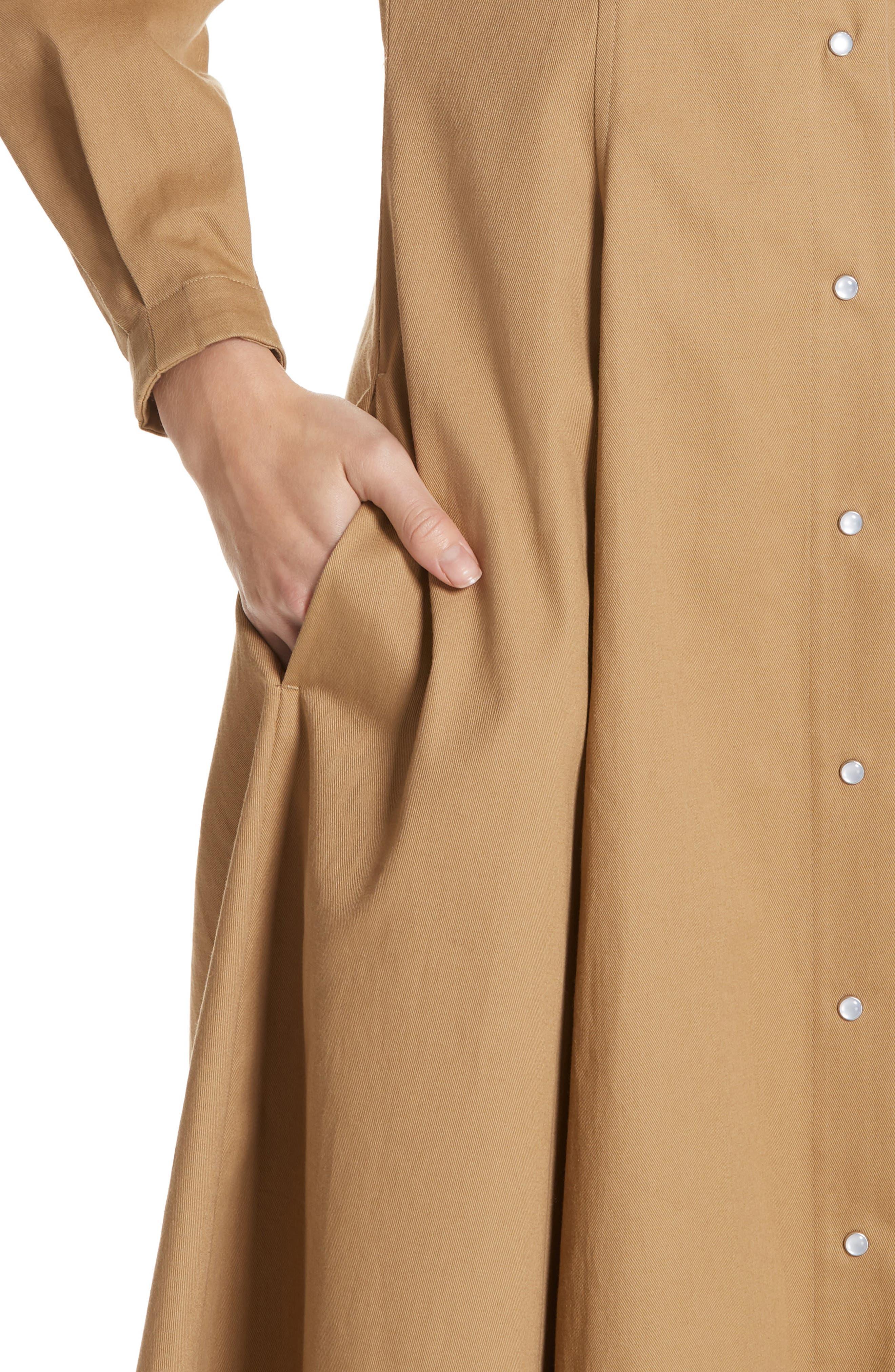 CALVIN KLEIN 205W39NYC, Western Twill A-Line Midi Dress, Alternate thumbnail 5, color, DUNE