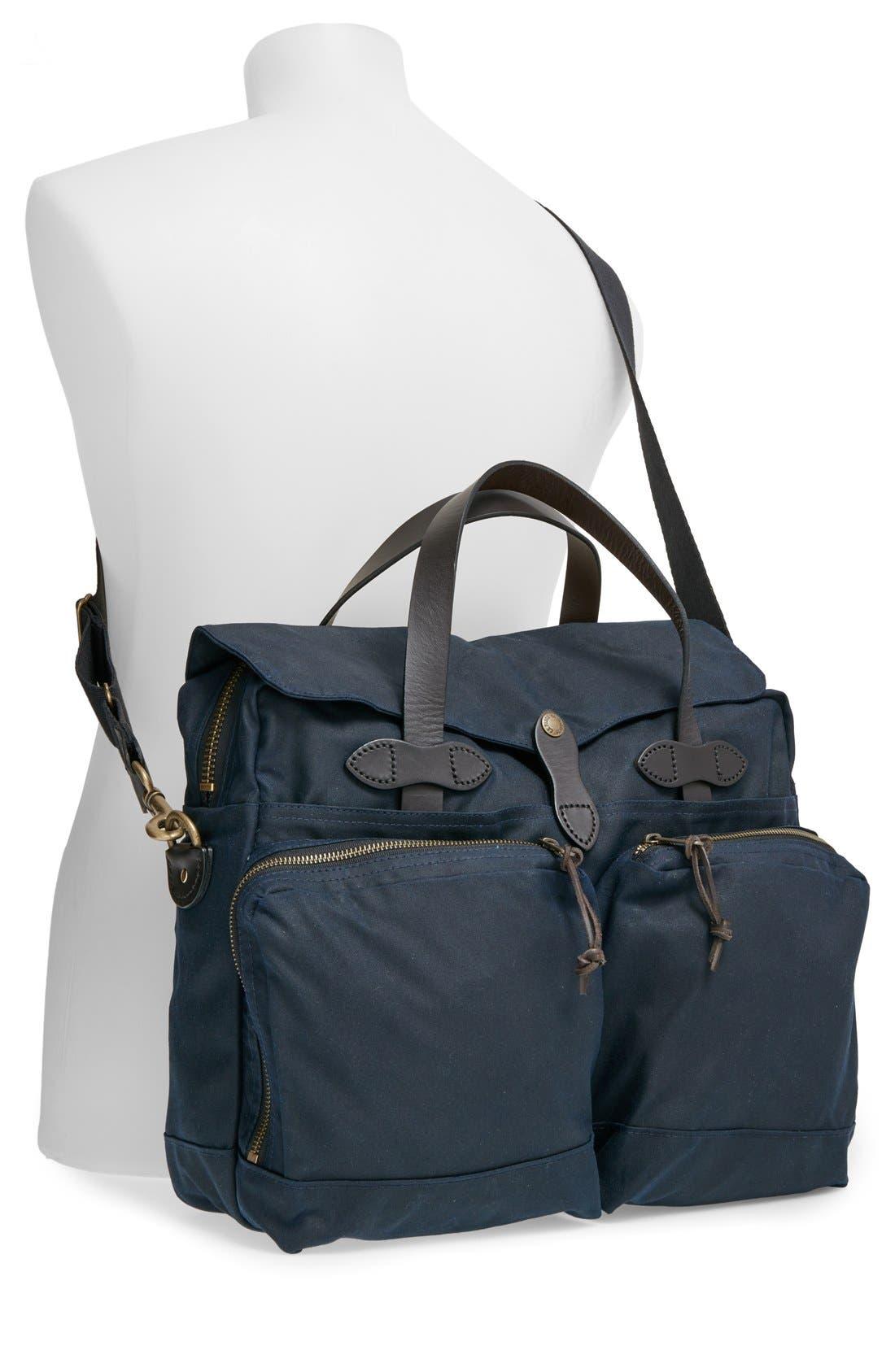 FILSON, '24 Hour' Tin Cloth Briefcase, Alternate thumbnail 2, color, NAVY