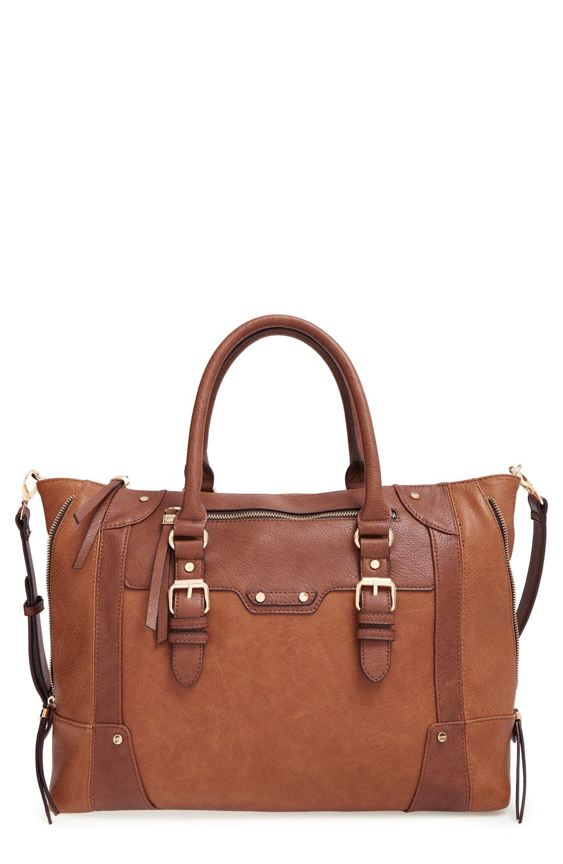 SOLE SOCIETY, 'Susan' Winged Faux Leather Tote, Main thumbnail 1, color, BROWN