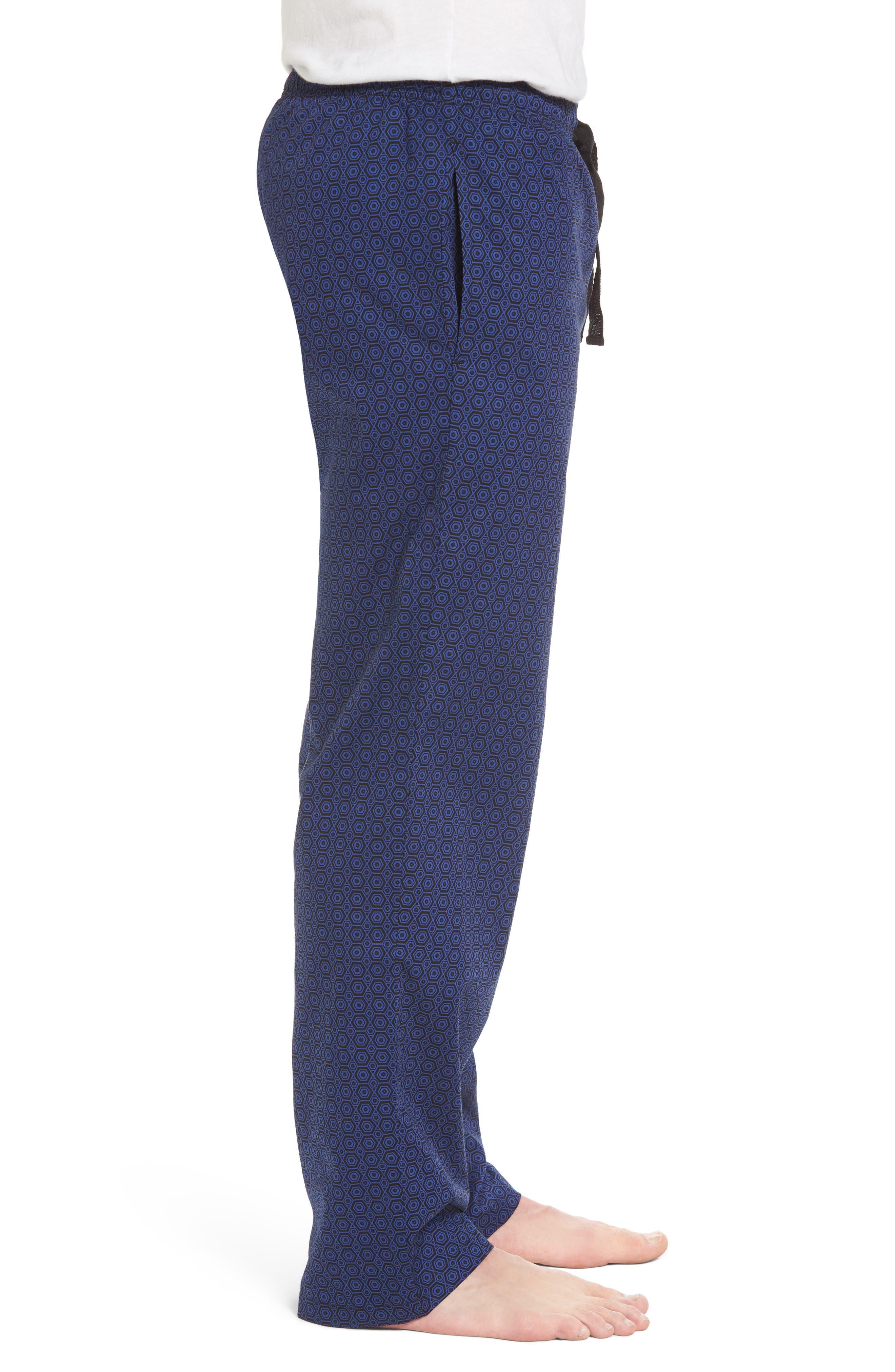 NORDSTROM MEN'S SHOP, Poplin Pajama Pants, Alternate thumbnail 3, color, 002