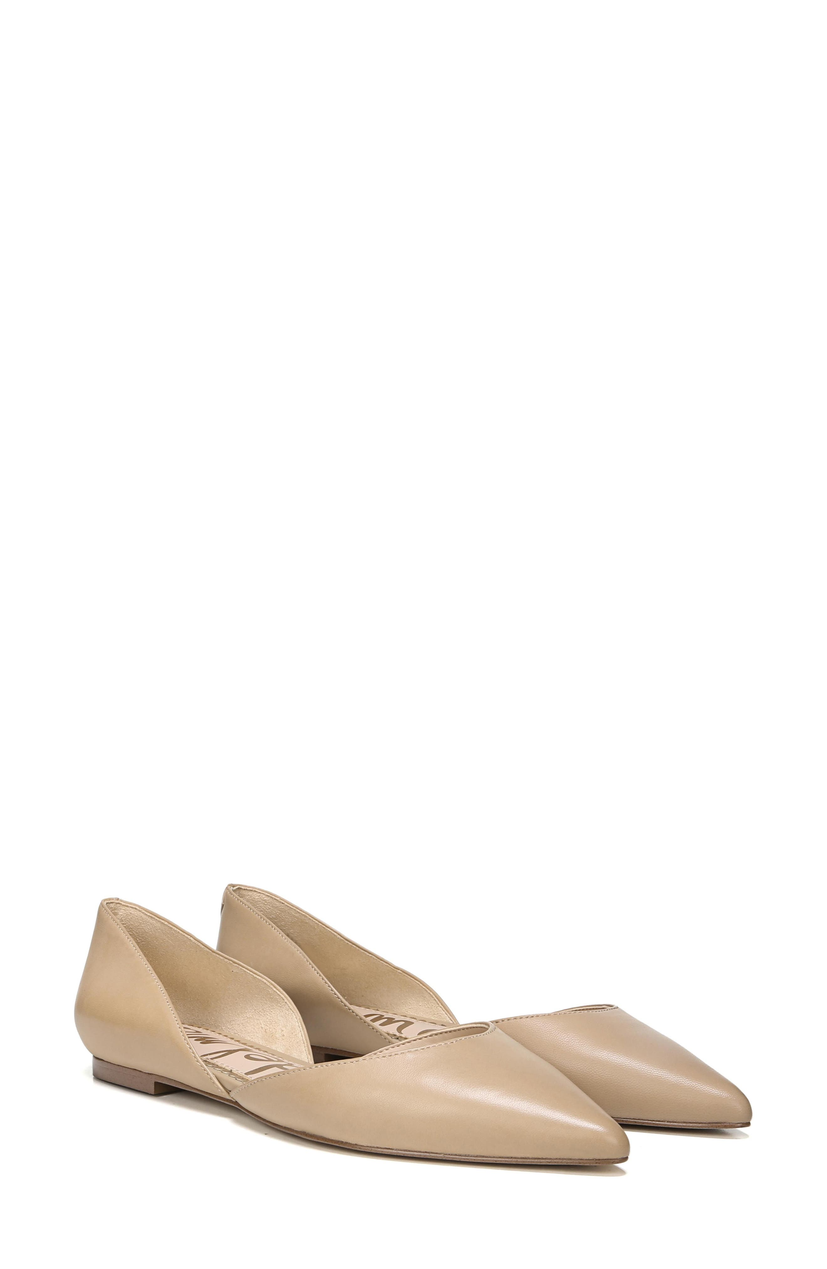 SAM EDELMAN, Rodney Pointy Toe d'Orsay Flat, Alternate thumbnail 8, color, CLASSIC NUDE LEATHER
