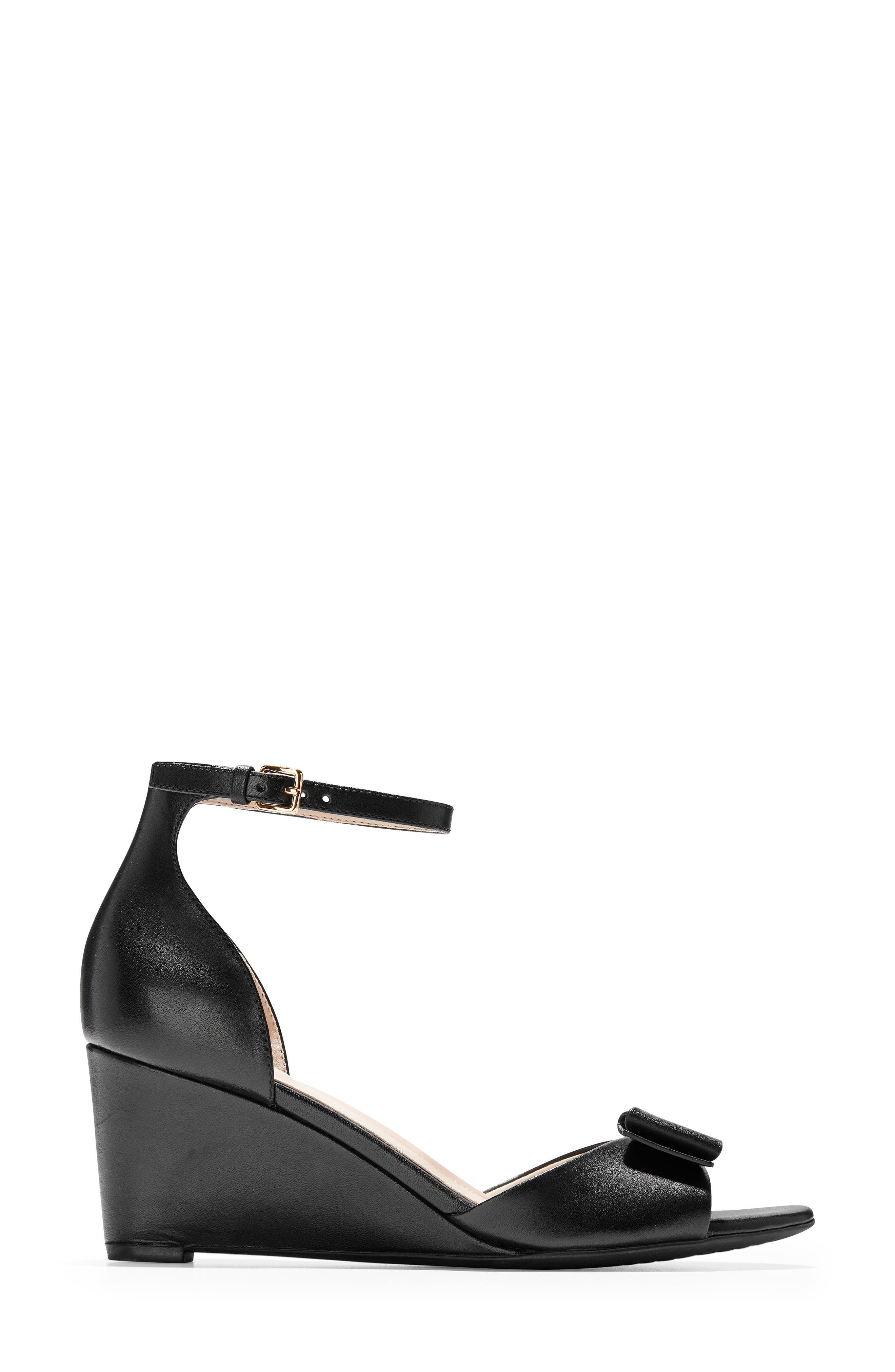 COLE HAAN, Tali Bow Wedge Sandal, Alternate thumbnail 3, color, BLACK LEATHER