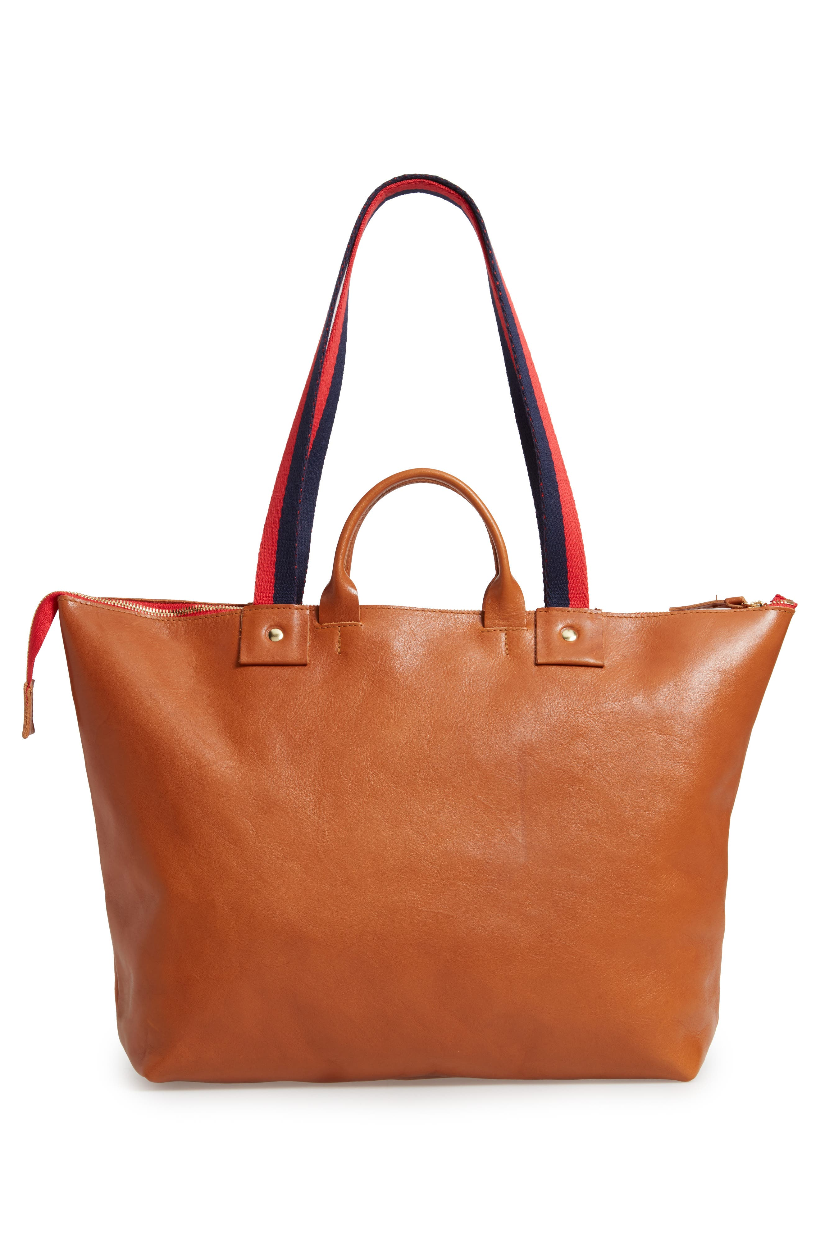 CLARE V., Le Zip Leather Tote, Alternate thumbnail 3, color, MIEL RUSTIC