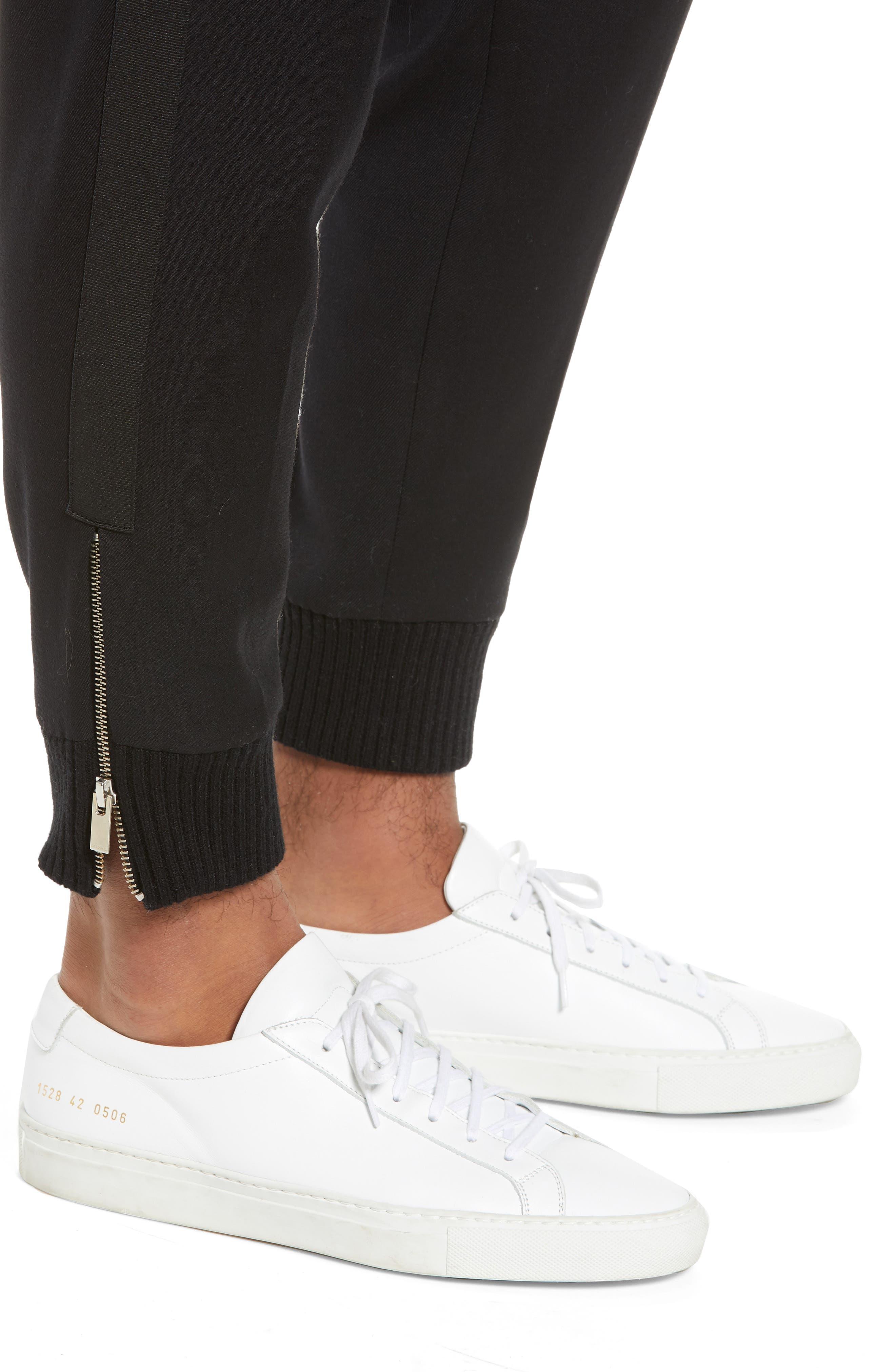 THE KOOPLES, Straight Leg Woven Jogger Pants, Alternate thumbnail 5, color, BLACK