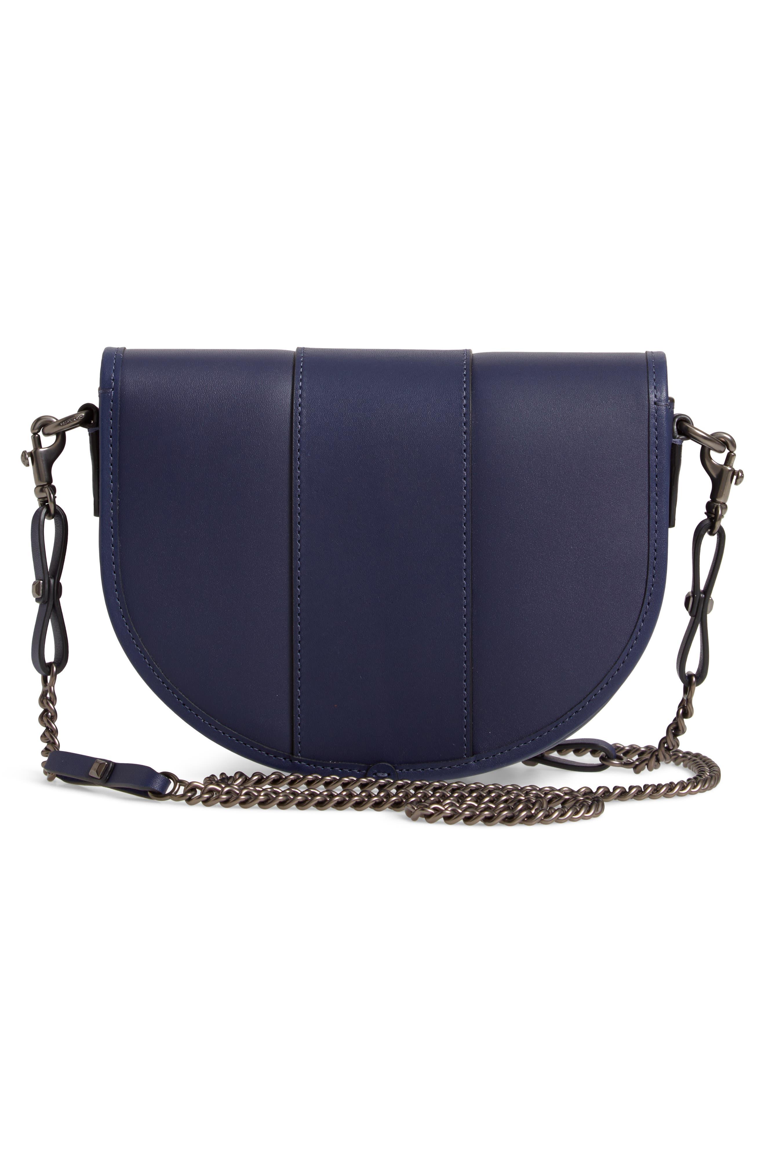 COACH, Saddle 20 Leather Saddle Bag, Alternate thumbnail 4, color, CADET