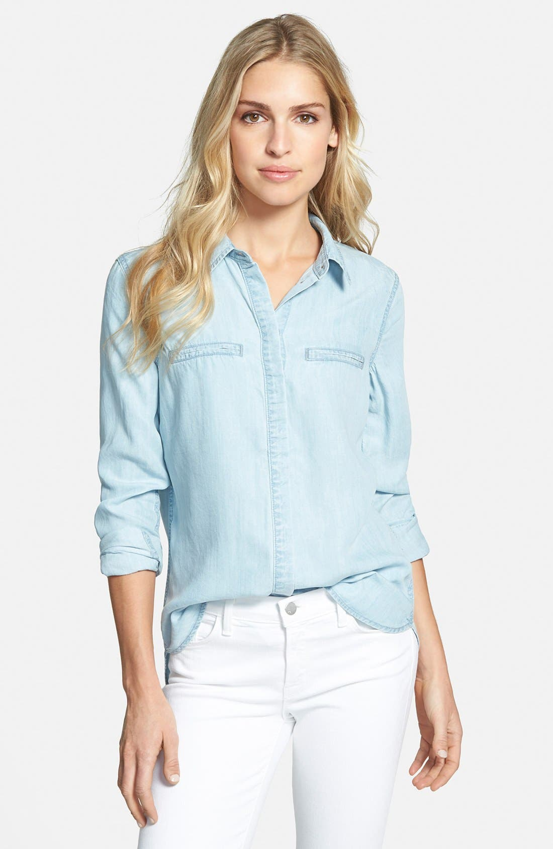 PAIGE, Denim 'Bellamy' Button Front Denim Shirt, Main thumbnail 1, color, 400