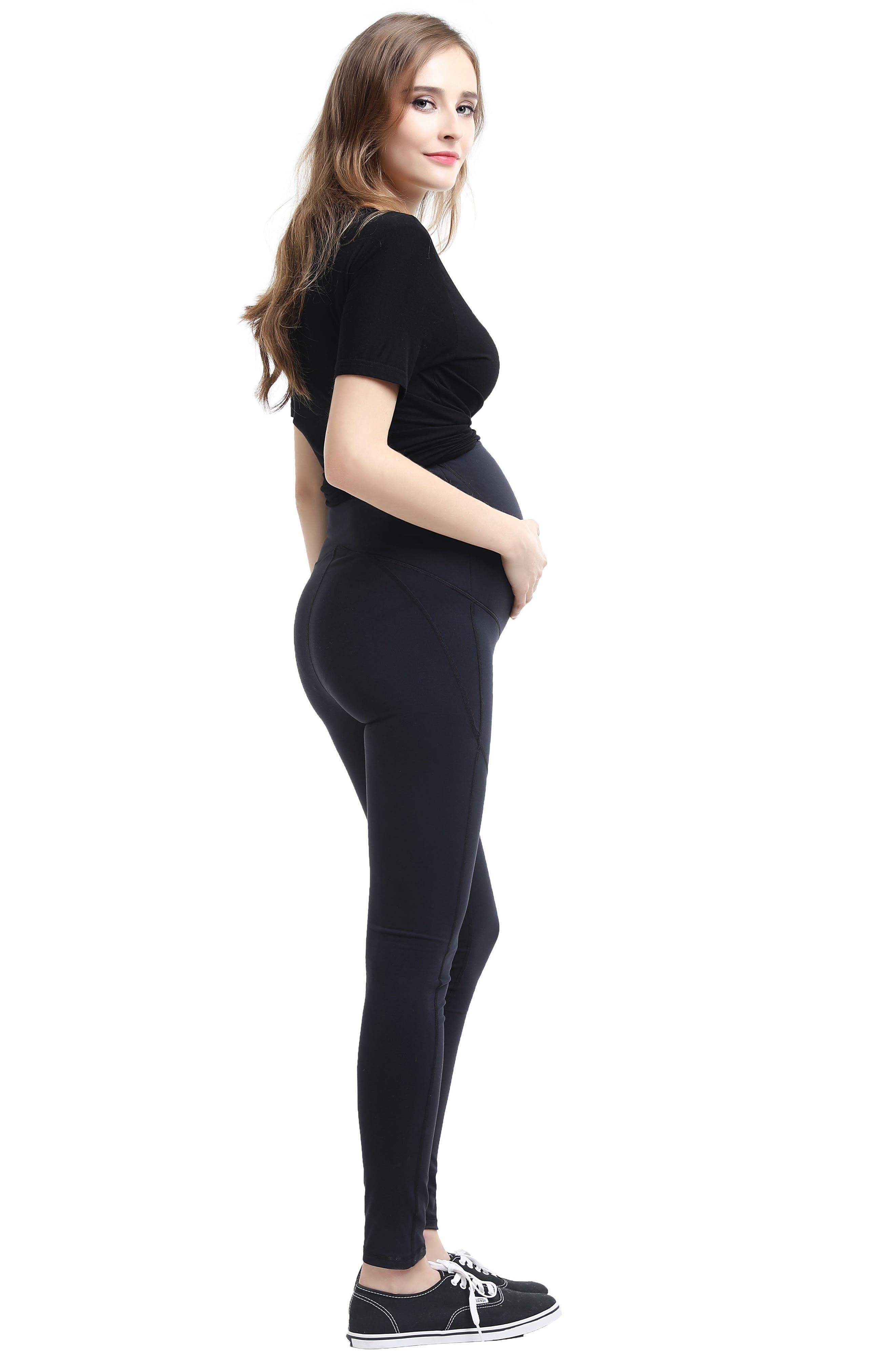 KIMI AND KAI, Blair High Performance Full Panel Maternity Leggings, Alternate thumbnail 3, color, BLACK