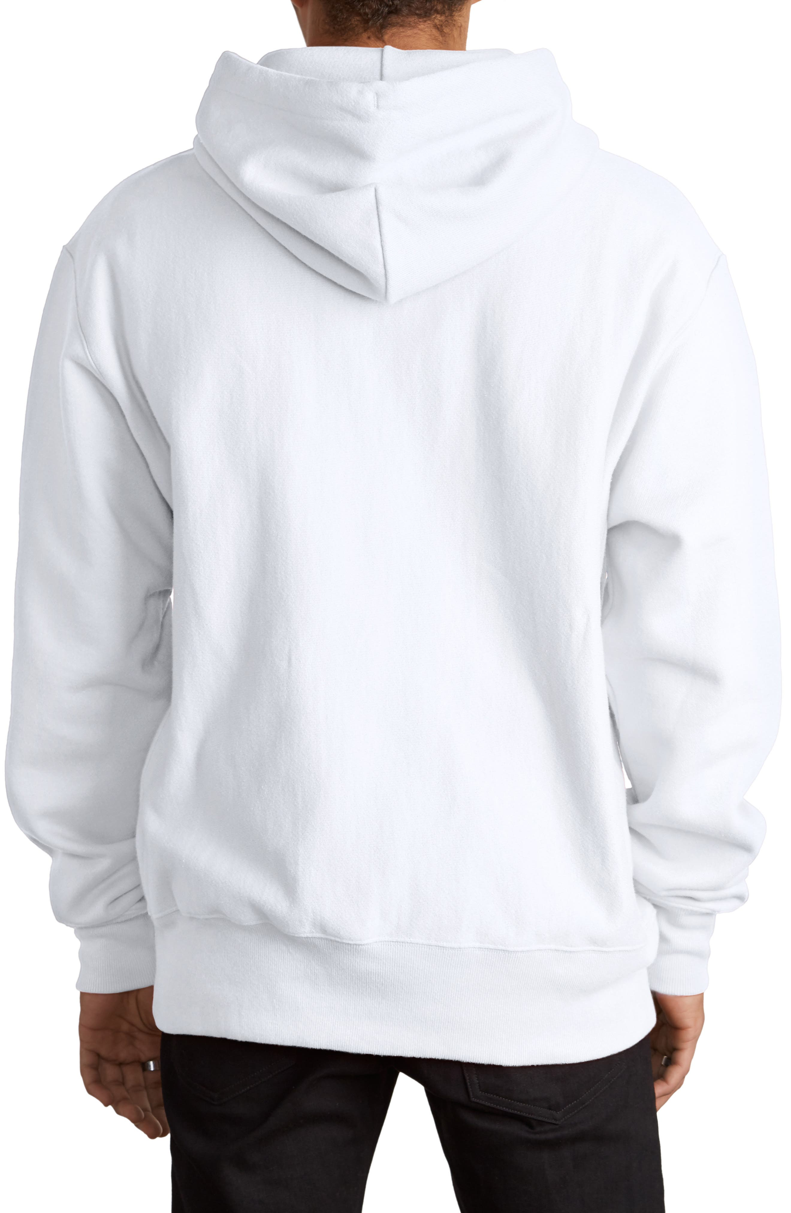 CHAMPION, Reverse Weave<sup>®</sup> Chenille Logo Hoodie, Alternate thumbnail 2, color, WHITE
