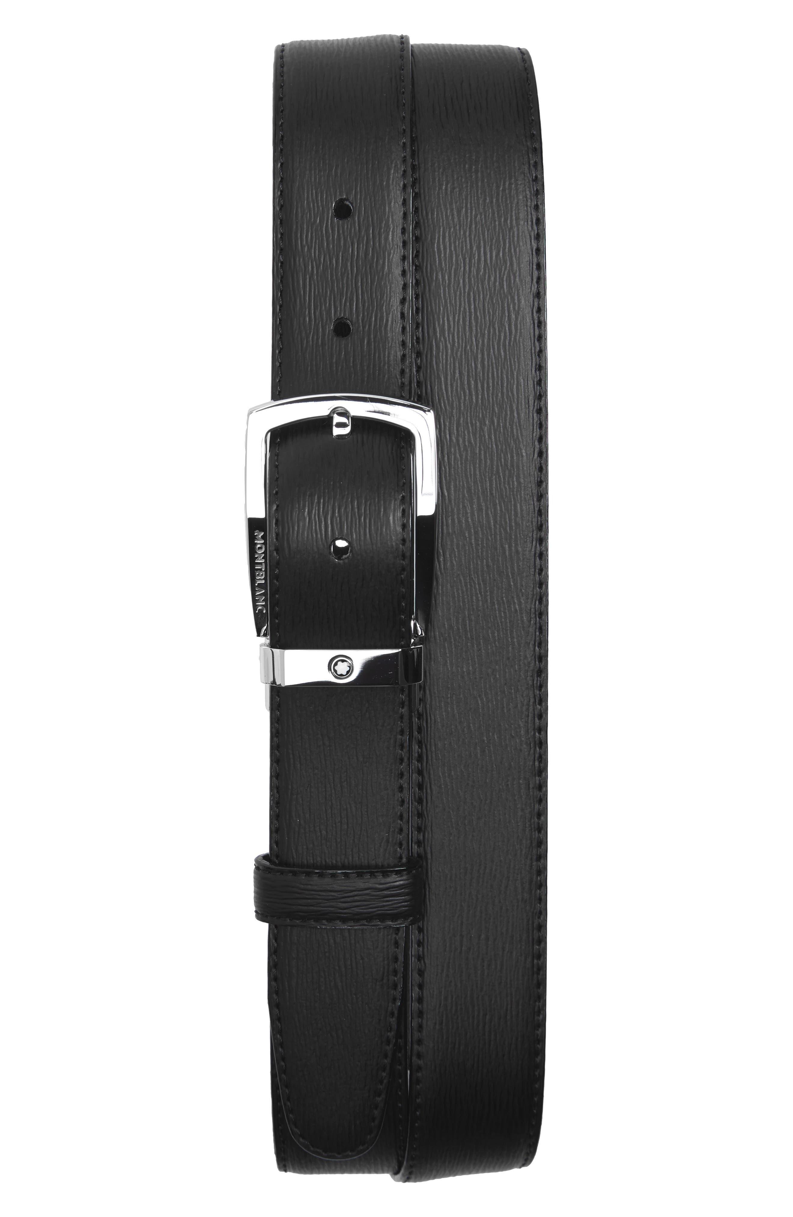 MONTBLANC, Westside Reversible Sartorial Leather Belt, Main thumbnail 1, color, BLACK