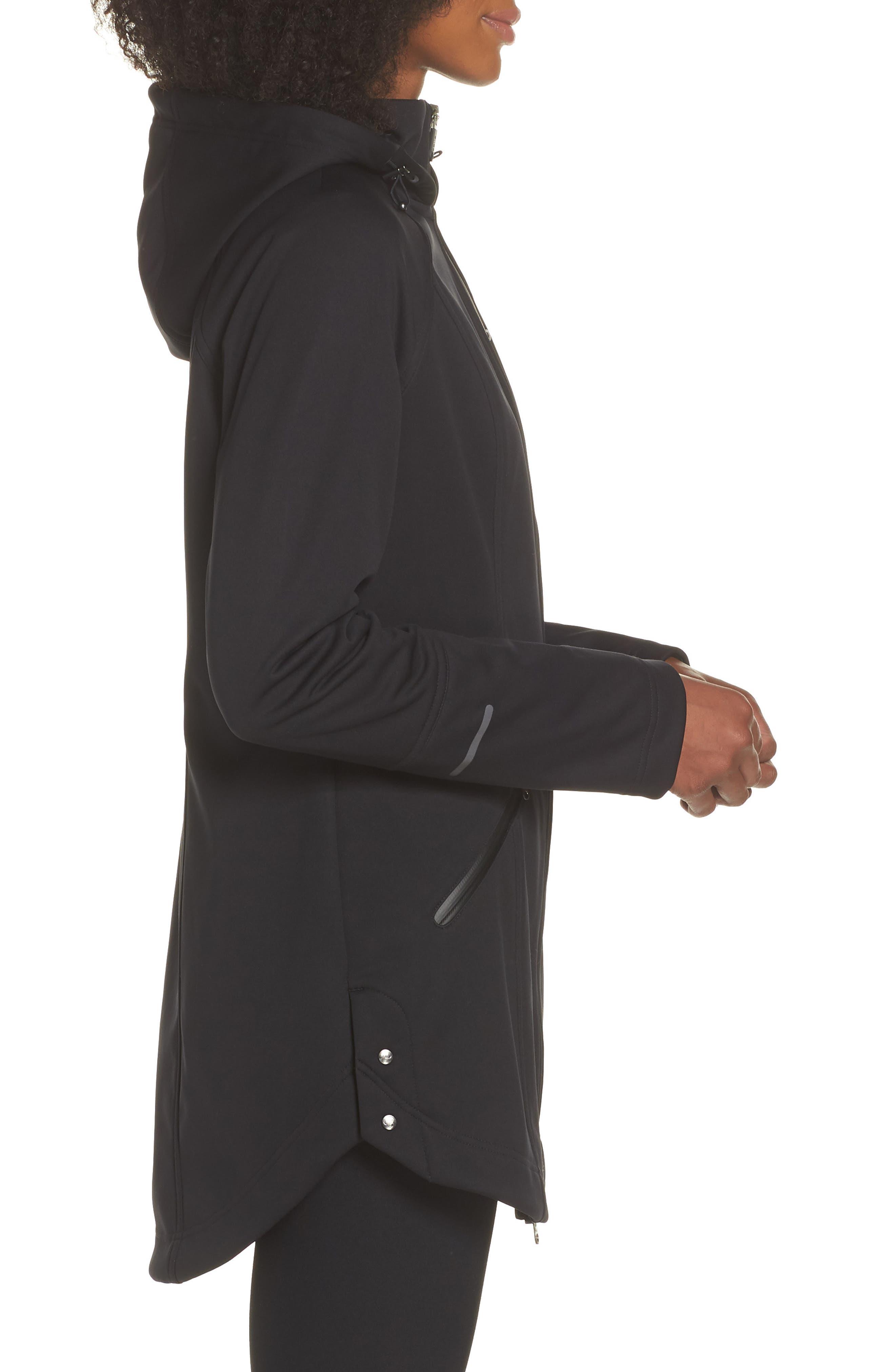 ZELLA, Aero Hooded Soft Shell Training Jacket, Alternate thumbnail 4, color, 001