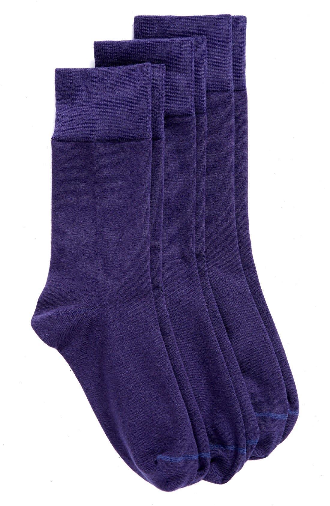 NORDSTROM, Crew Socks, Main thumbnail 1, color, NAVY