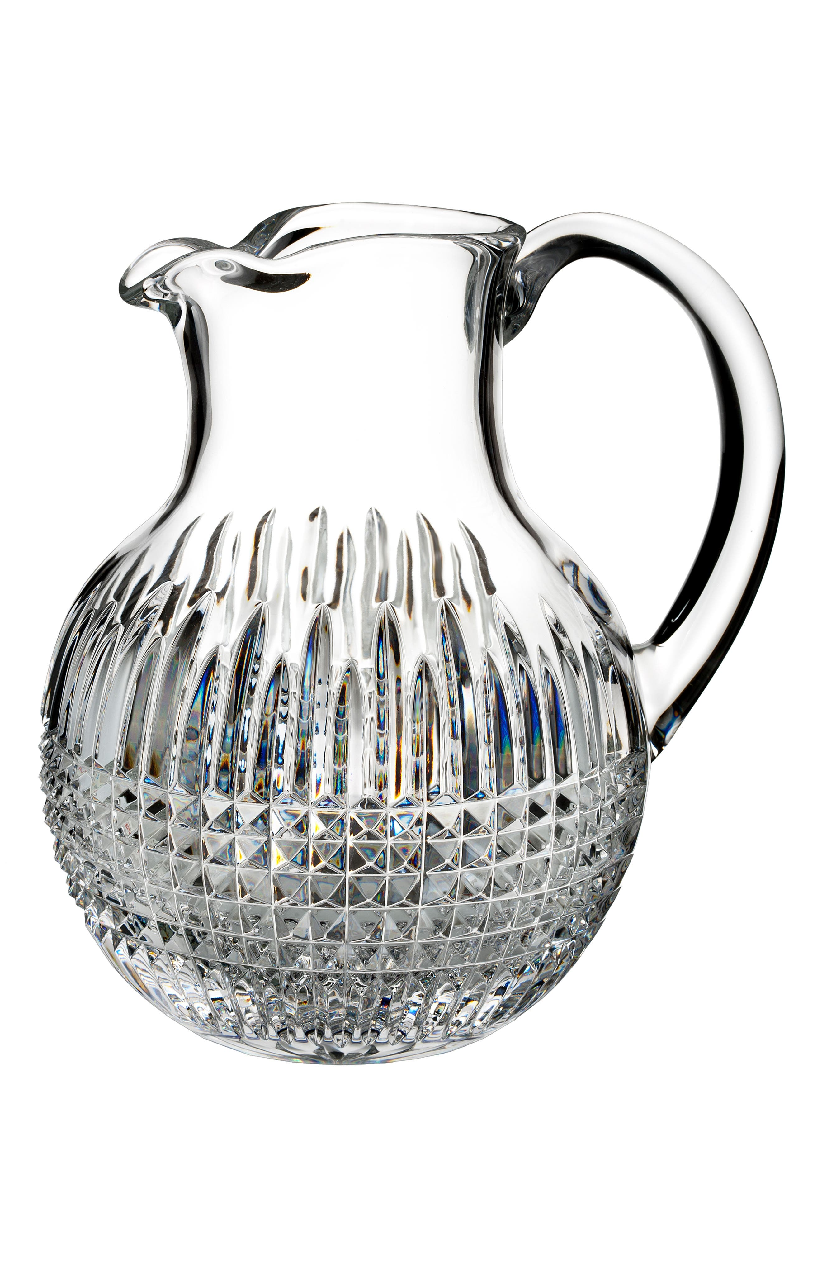 WATERFORD, Lismore Diamond Encore Lead Crystal Pitcher, Main thumbnail 1, color, CRYSTAL