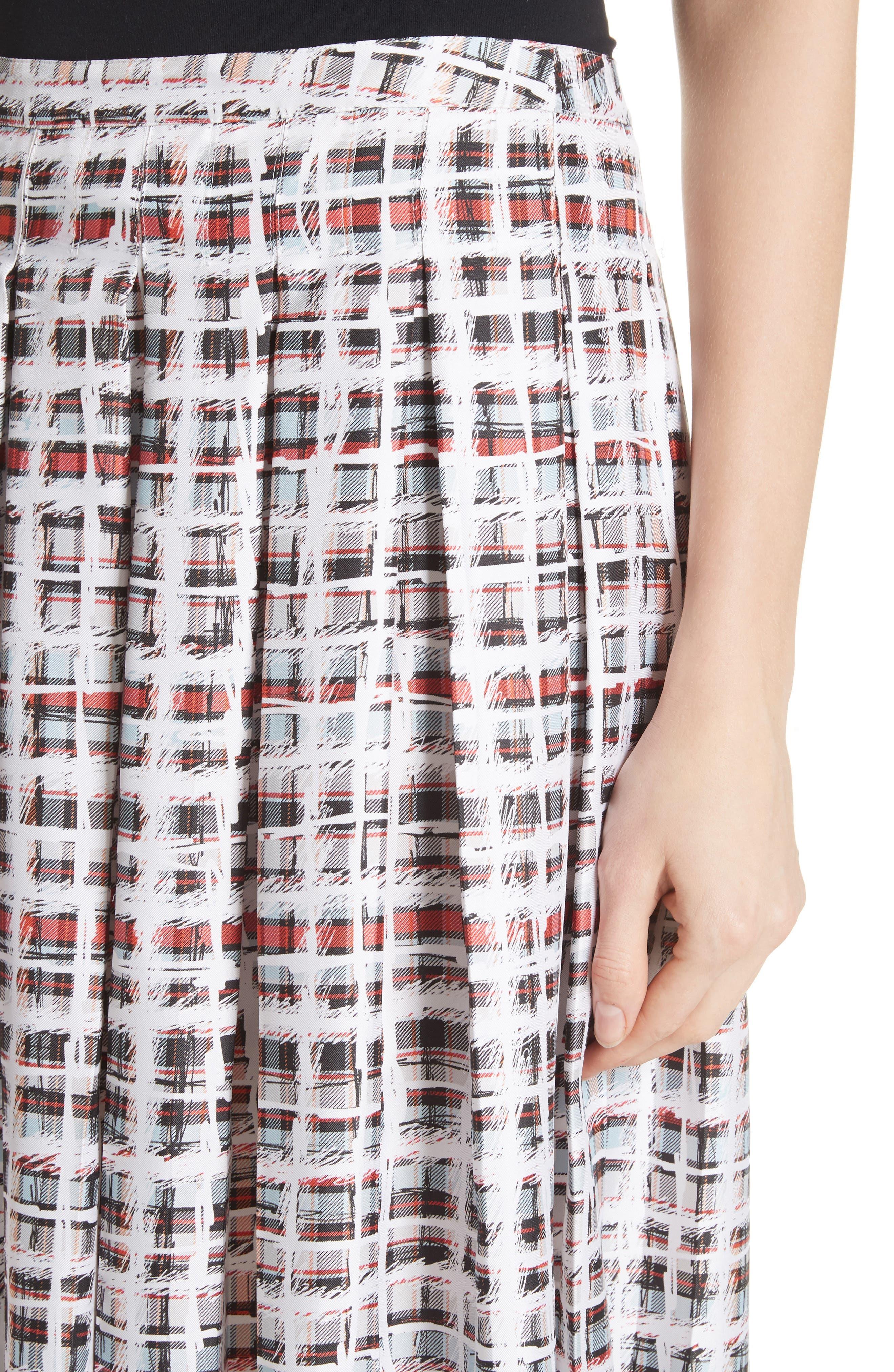 BURBERRY, Farnborough Pleated Check Silk Midi Skirt, Alternate thumbnail 4, color, CADMIUM RED