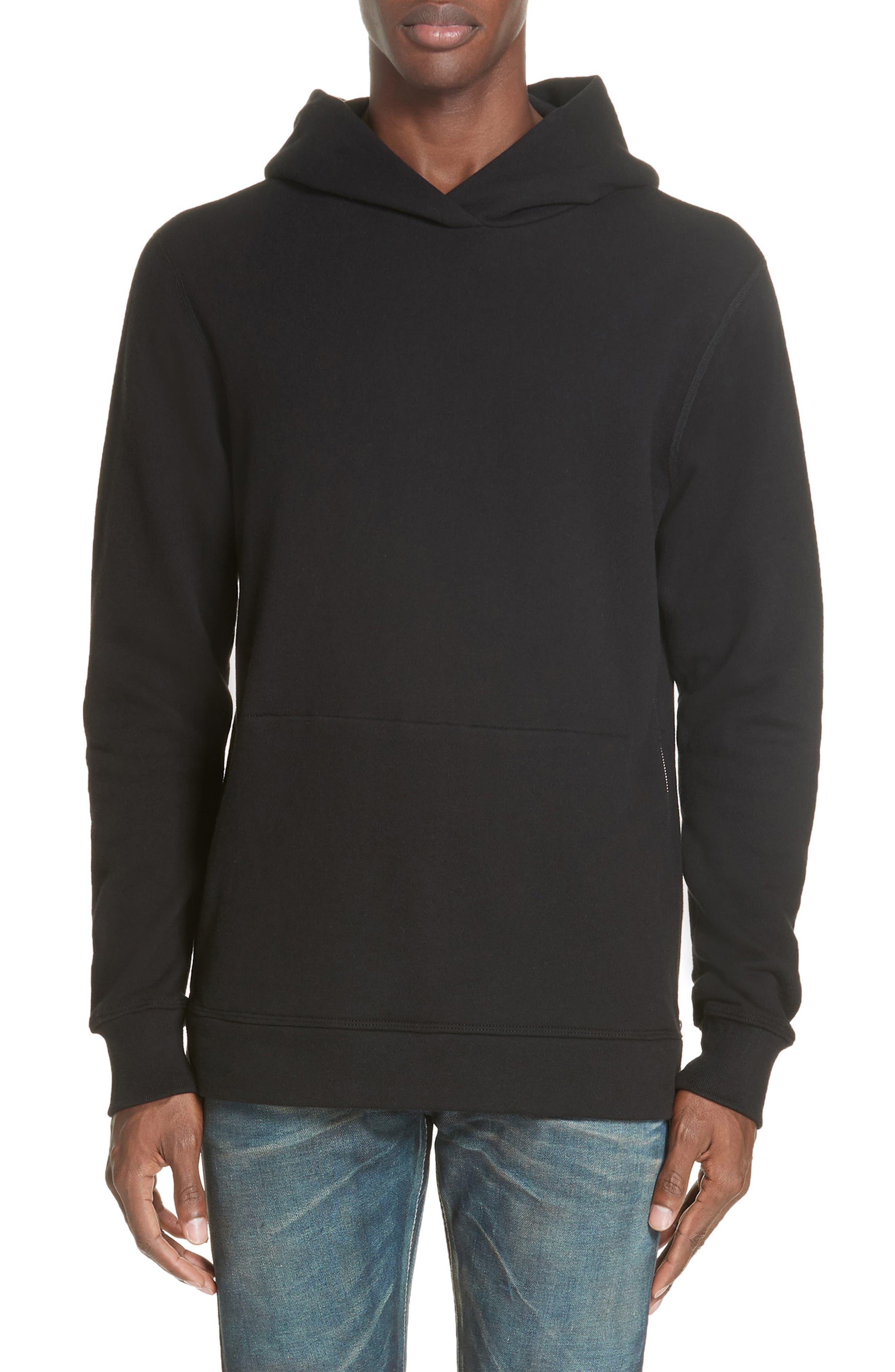JOHN ELLIOTT Hooded Villain Sweatshirt, Main, color, BLACK