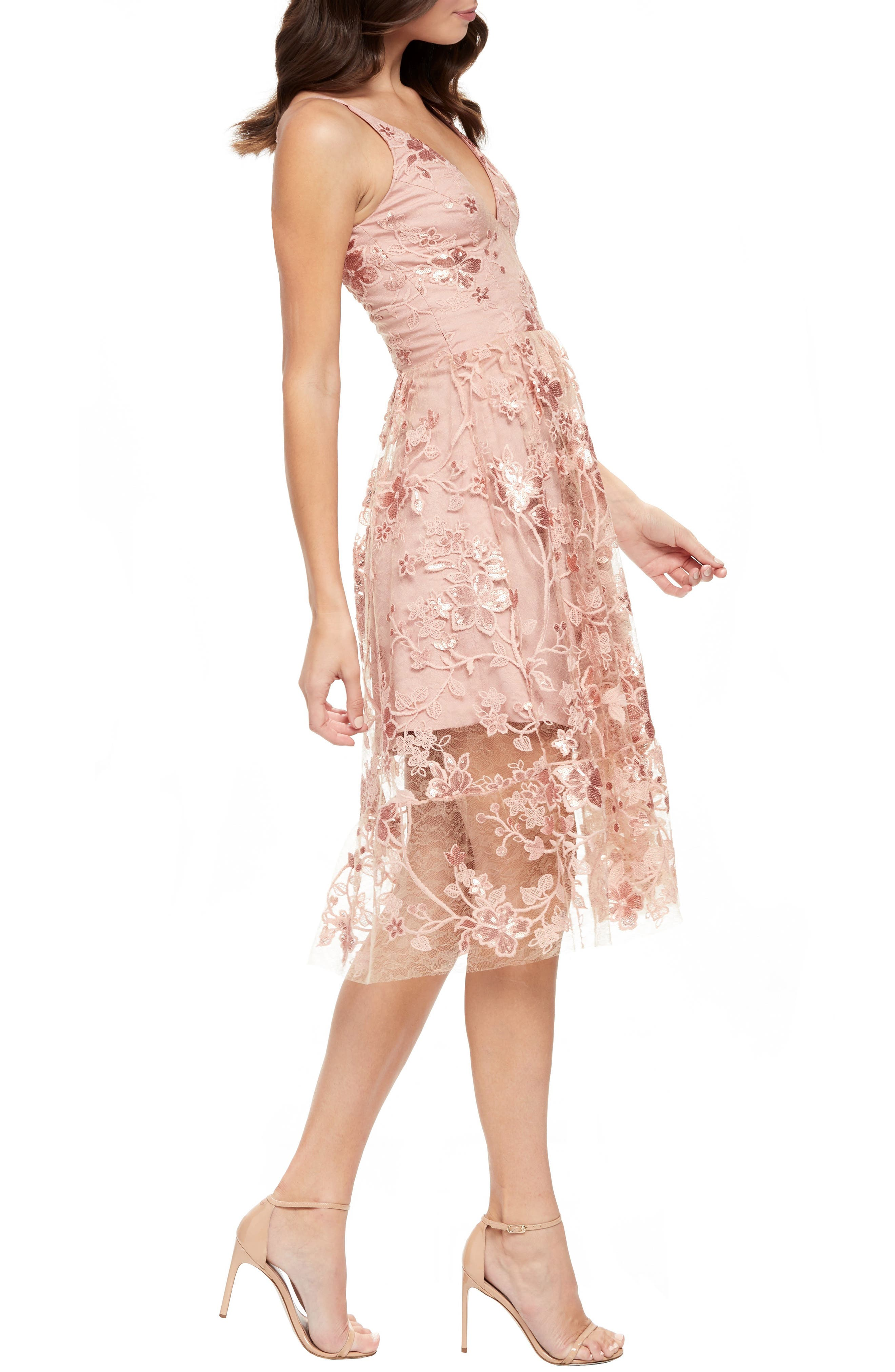 DRESS THE POPULATION, Ally 3D Floral Mesh Cocktail Dress, Alternate thumbnail 3, color, DUSTY PINK