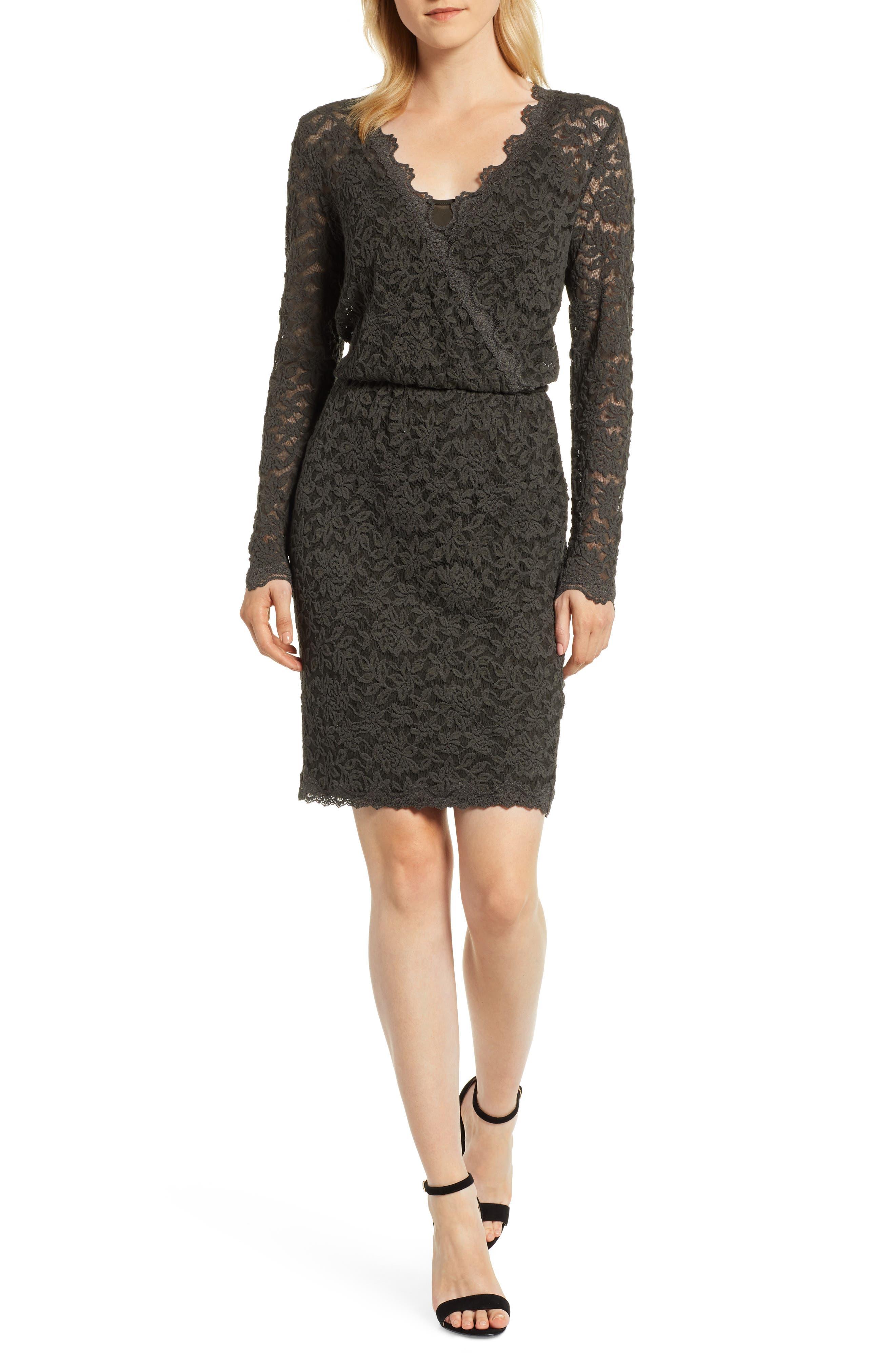 ROSEMUNDE, Delicia Scallop Detail Cotton Blend Lace Dress, Main thumbnail 1, color, DARK FOREST