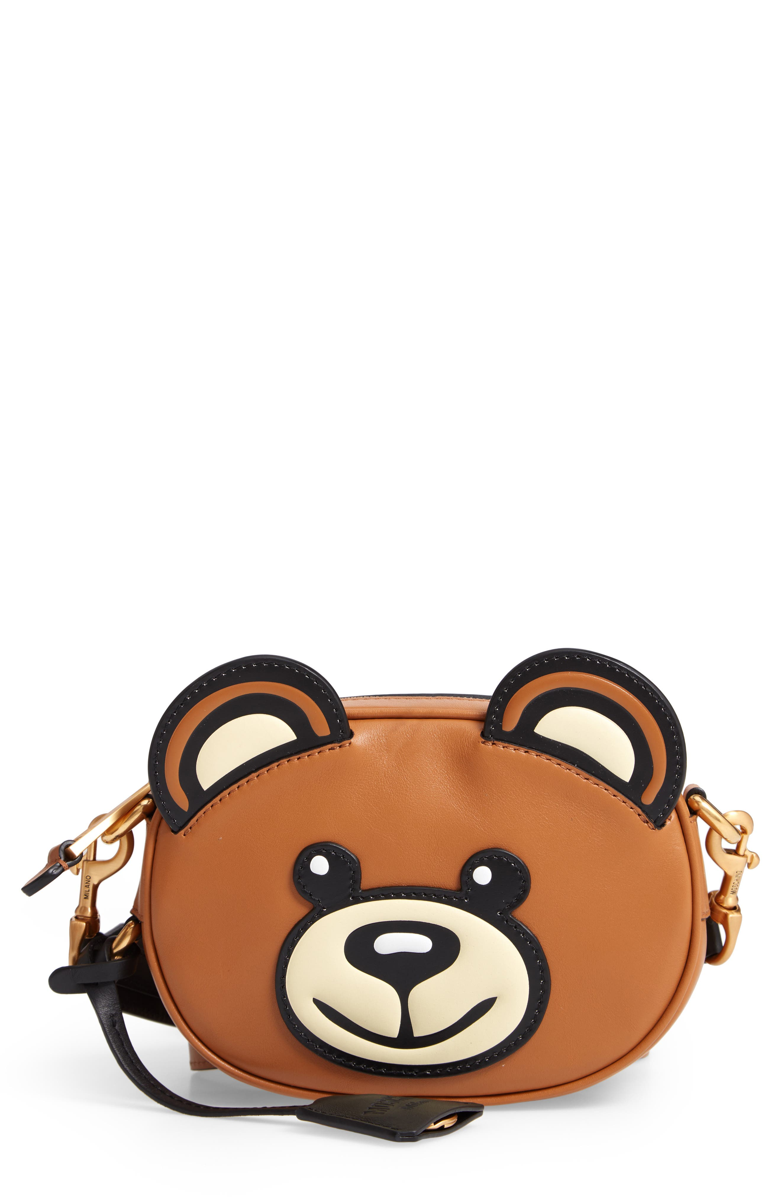 MOSCHINO, Crystal Teddy Leather Crossbody Bag, Main thumbnail 1, color, BROWN